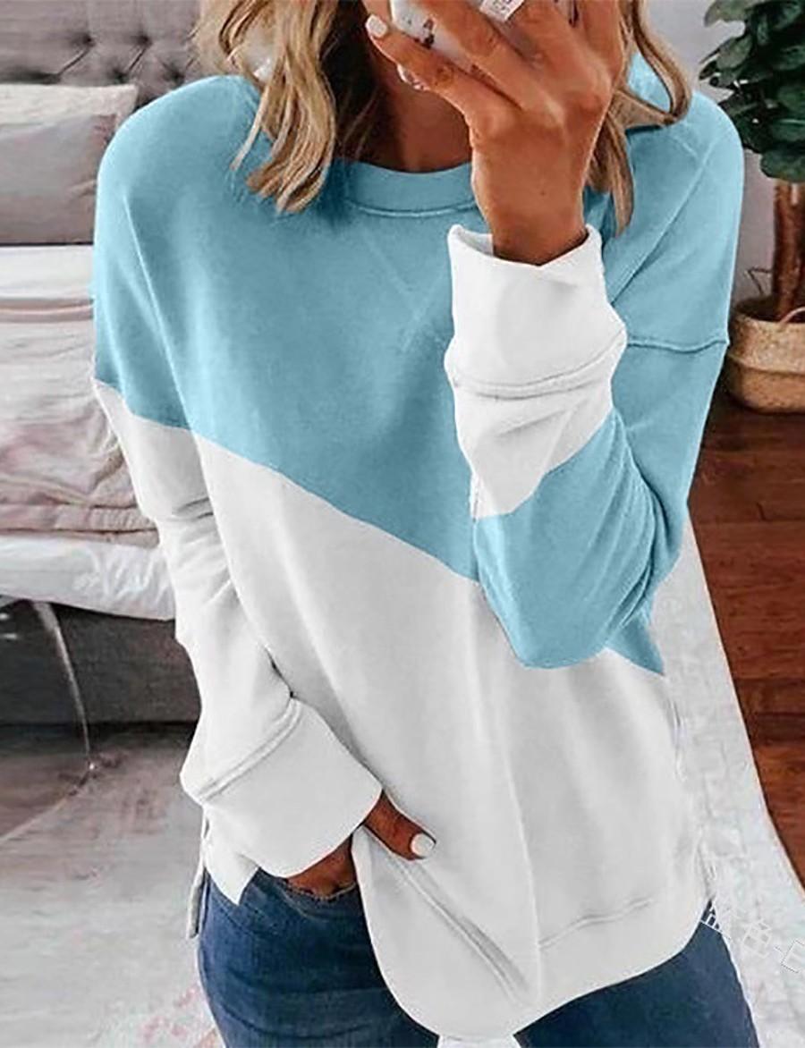 Women's Pullover Sweatshirt Color Block Daily Casual Basic Hoodies Sweatshirts  Black Blue Blushing Pink