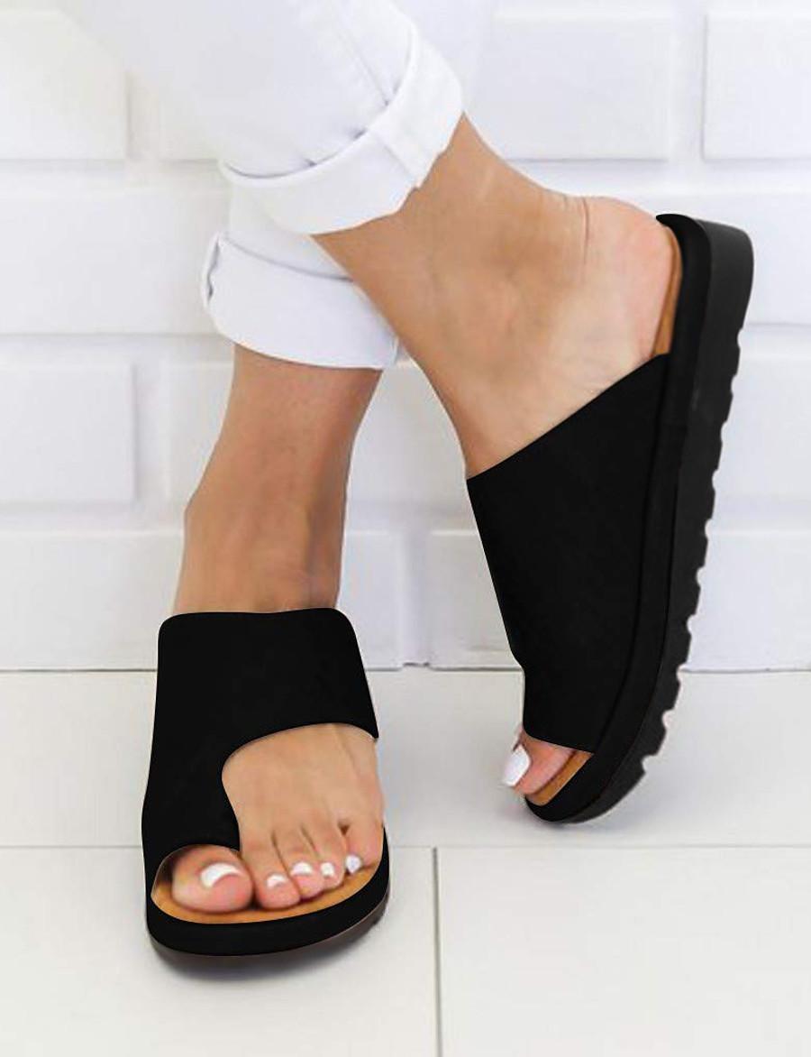 Femme Sandales Sandales plates Chaussures de confort Sandales Bunion Talon Plat Bout ouvert Simple Quotidien Polyuréthane Couleur Pleine Eté Léopard Noir Violet