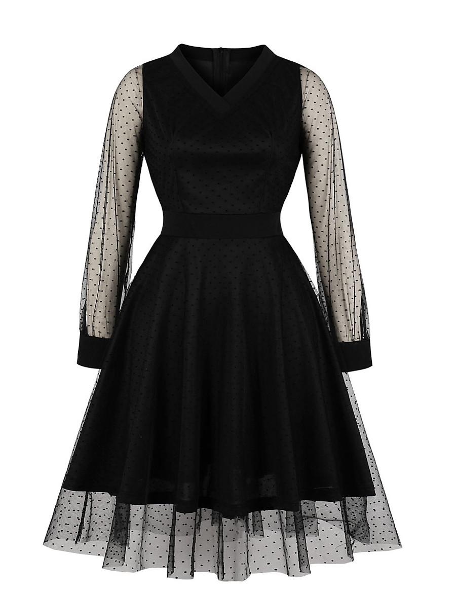 Women's Swing Dress Knee Length Dress - Long Sleeve Solid Color Mesh Patchwork Summer V Neck Casual 2020 Black S M L XL XXL