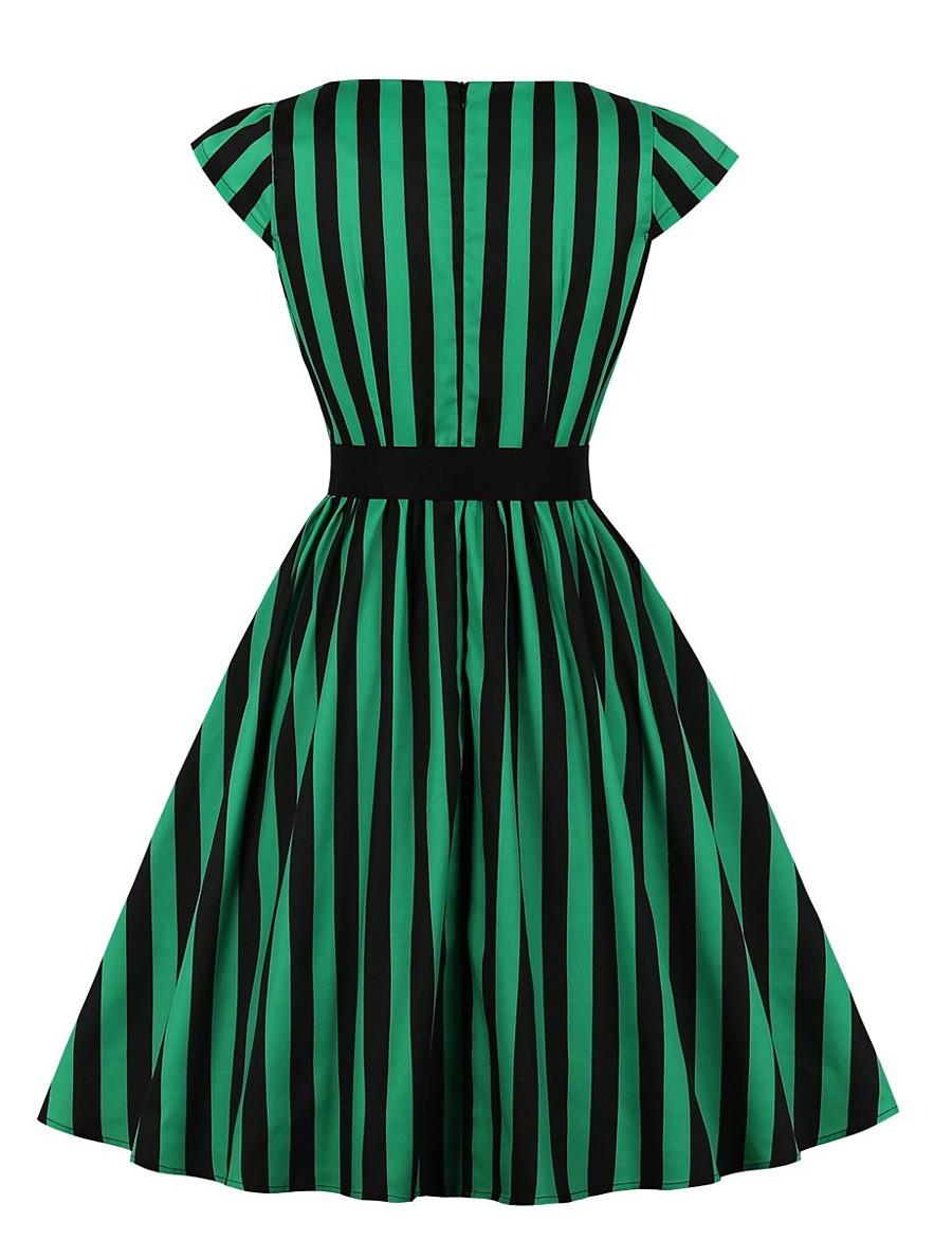 Women's Swing Dress Knee Length Dress - Short Sleeve Striped Spring Summer Casual Cotton 2020 Green S M L XL XXL 3XL 4XL