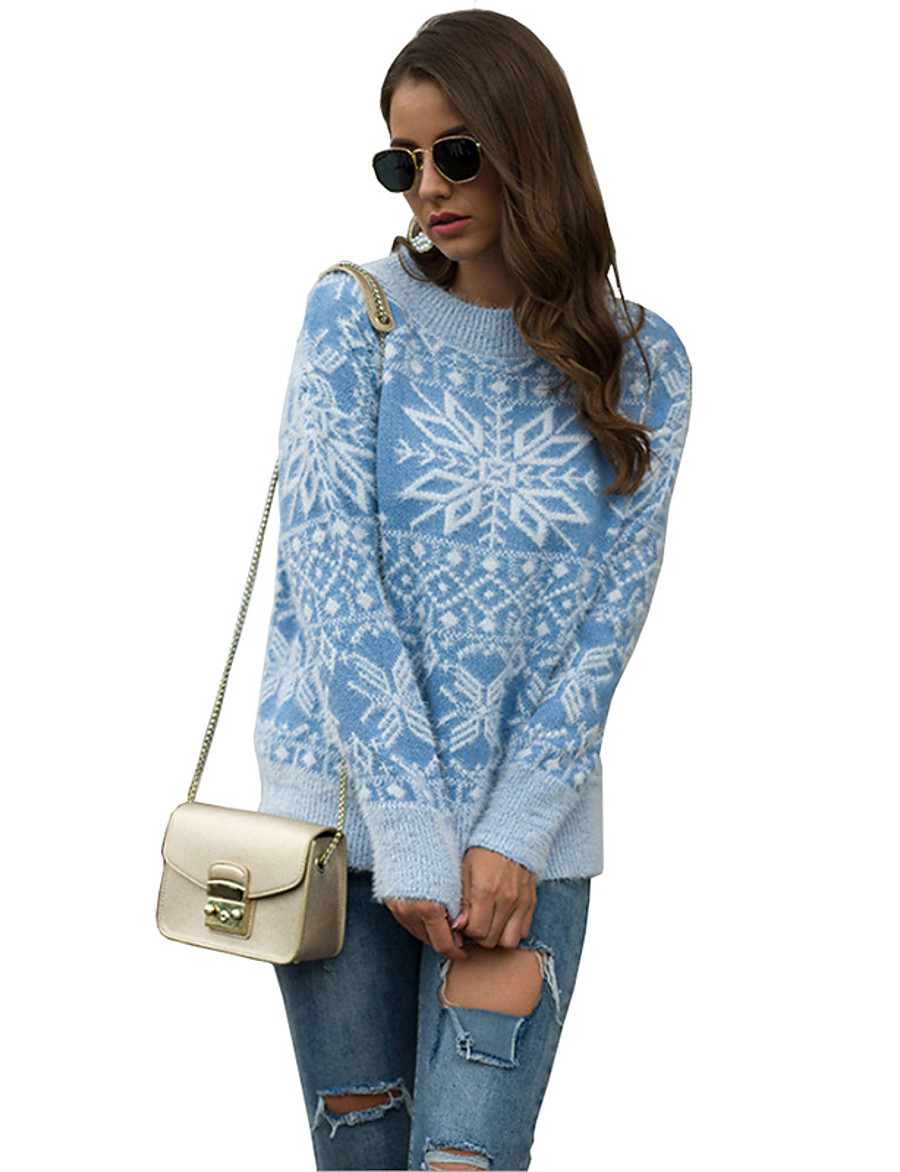 Women's Christmas Geometric Sweater Long Sleeve Sweater Cardigans Crew Neck Round Neck Spring Fall Blue Red Blushing Pink