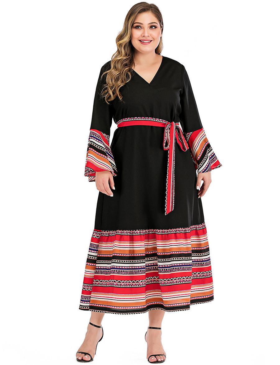 Women's A-Line Dress Maxi long Dress - Long Sleeve Print Patchwork Print Summer V Neck Casual Flare Cuff Sleeve 2020 Black L XL XXL 3XL 4XL