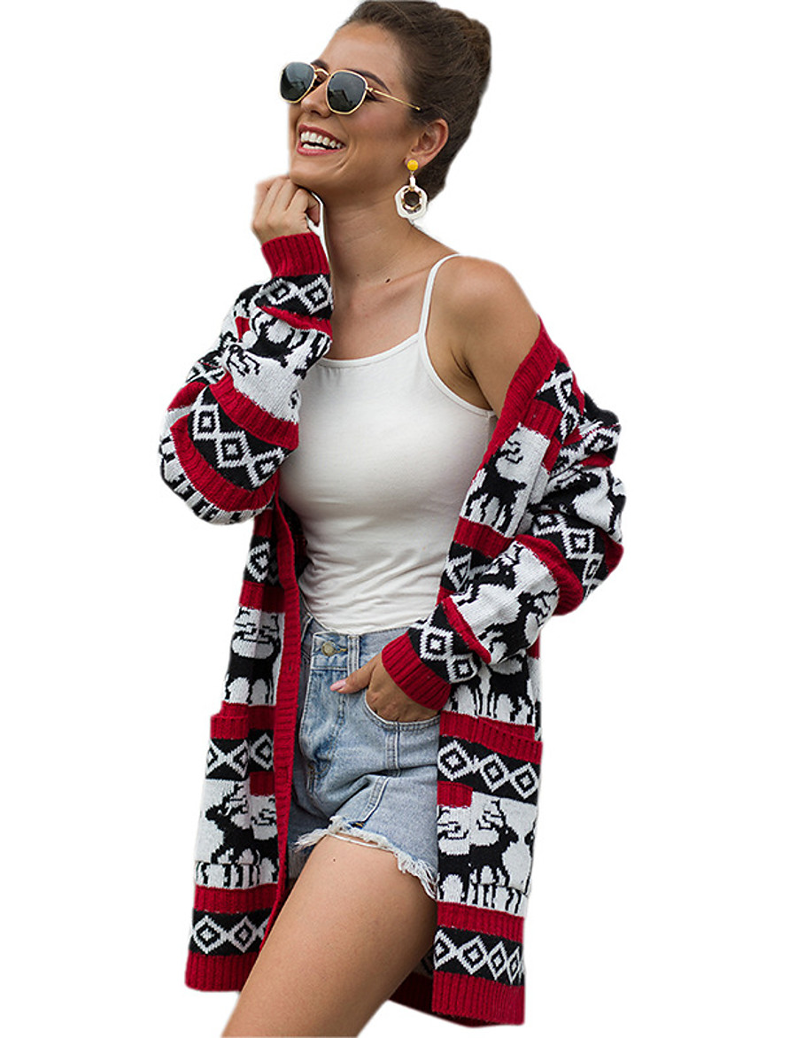 Women's Christmas Animal Cardigan Long Sleeve Sweater Cardigans Open Front Spring Fall Blue Wine Green