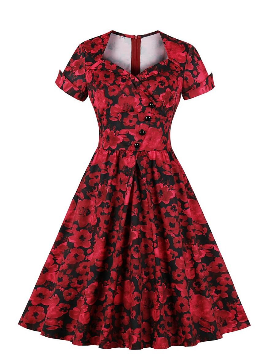 Women's Swing Dress Knee Length Dress - Short Sleeve Floral Spring Summer Casual 2020 Red S M L XL XXL