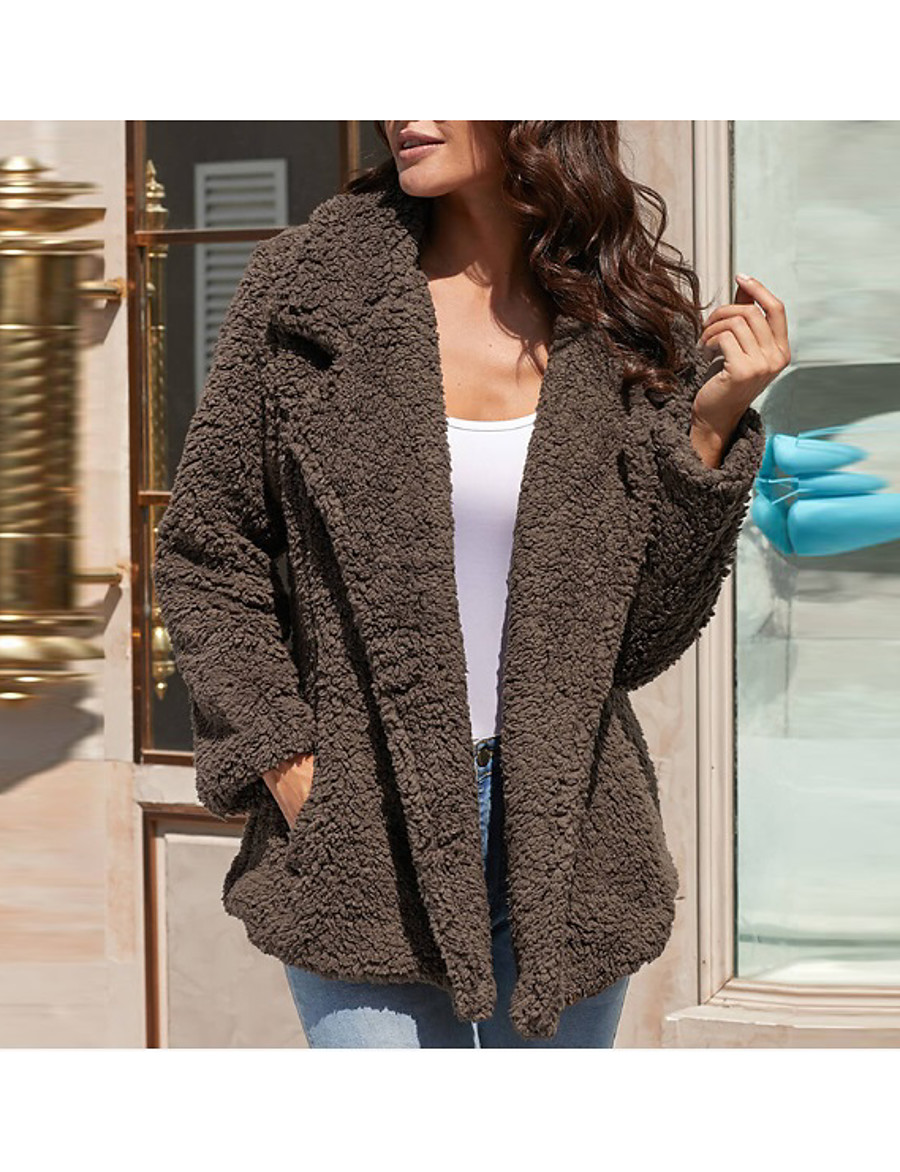 Women's Fall & Winter Teddy Coat Regular Solid Colored Daily Basic Black Khaki Green Dark Gray S M L XL / Loose