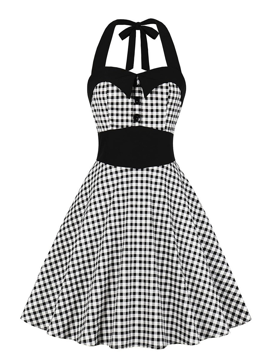 Women's Swing Dress Knee Length Dress - Sleeveless Check Summer Casual 2020 Black S M L XL XXL