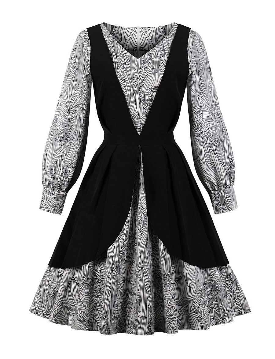 Women's Swing Dress Knee Length Dress - 3/4 Length Sleeve Print Spring Casual 2020 Black S M L XL