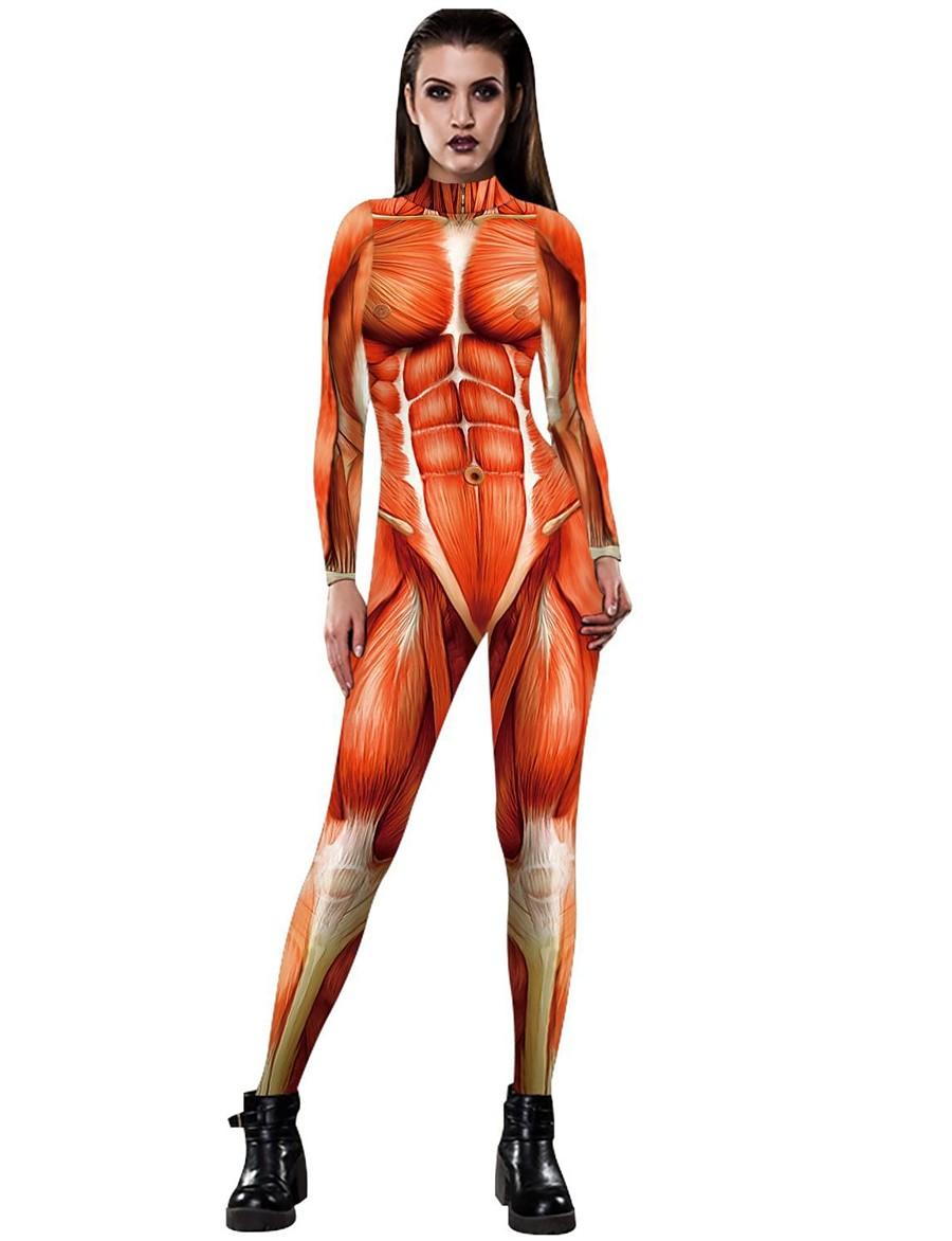 Women's Basic Orange Green Jumpsuit Abstract