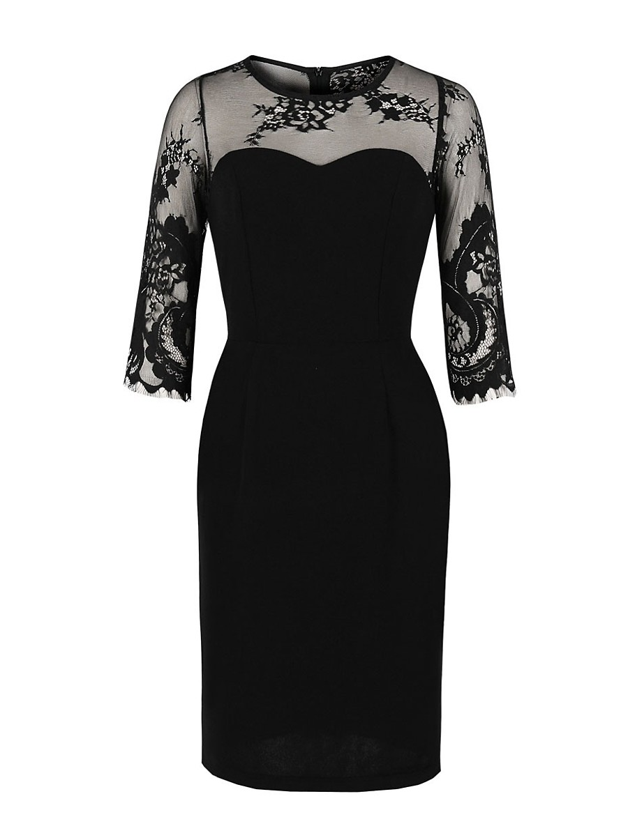 Women's Sheath Dress Knee Length Dress - Half Sleeve Solid Color Lace Mesh Zipper Summer Elegant Daily 2020 Black S M L XL XXL