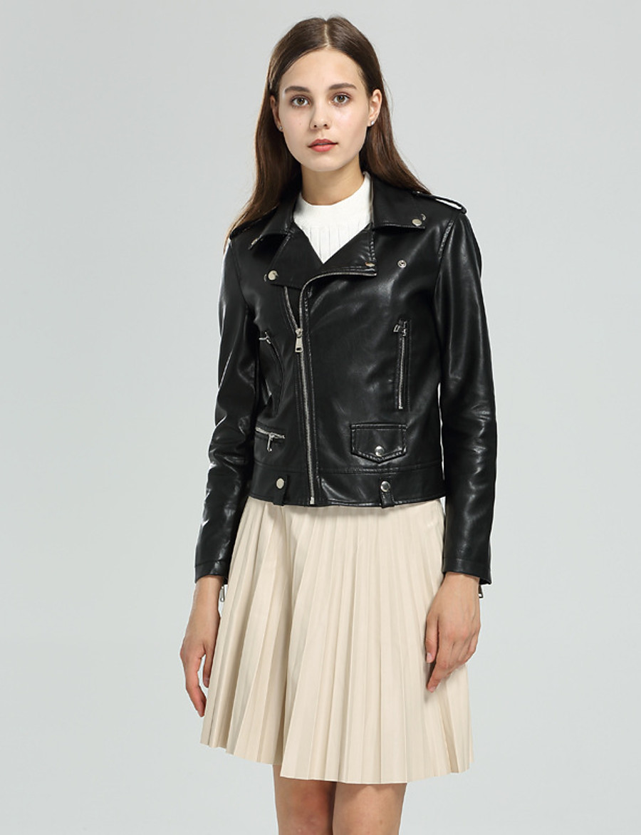 Women's Zipper Shirt Collar Faux Leather Jacket Regular Solid Colored Daily Basic Black S M L