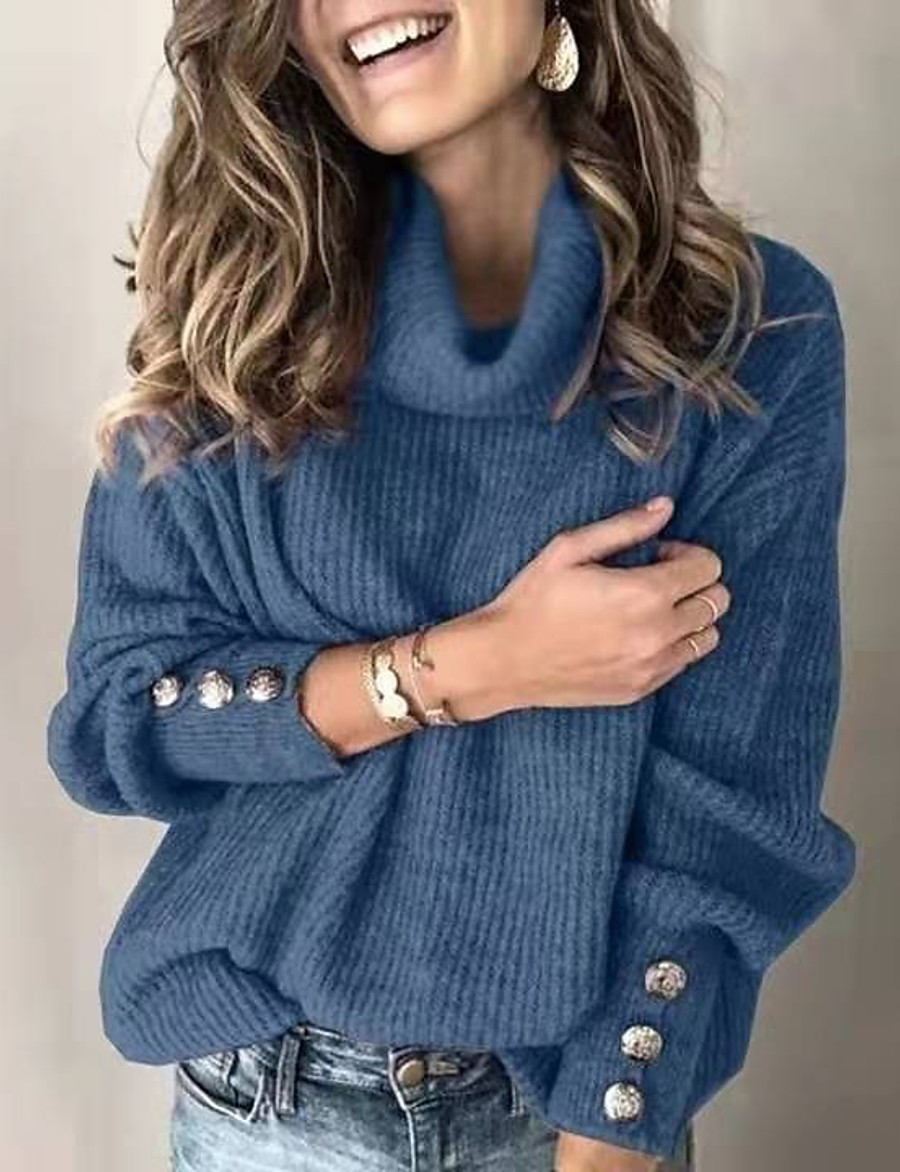 Women's Basic Knitted Solid Color Plain Pullover Cotton Long Sleeve Sweater Cardigans Turtleneck Fall Winter White Black Blue