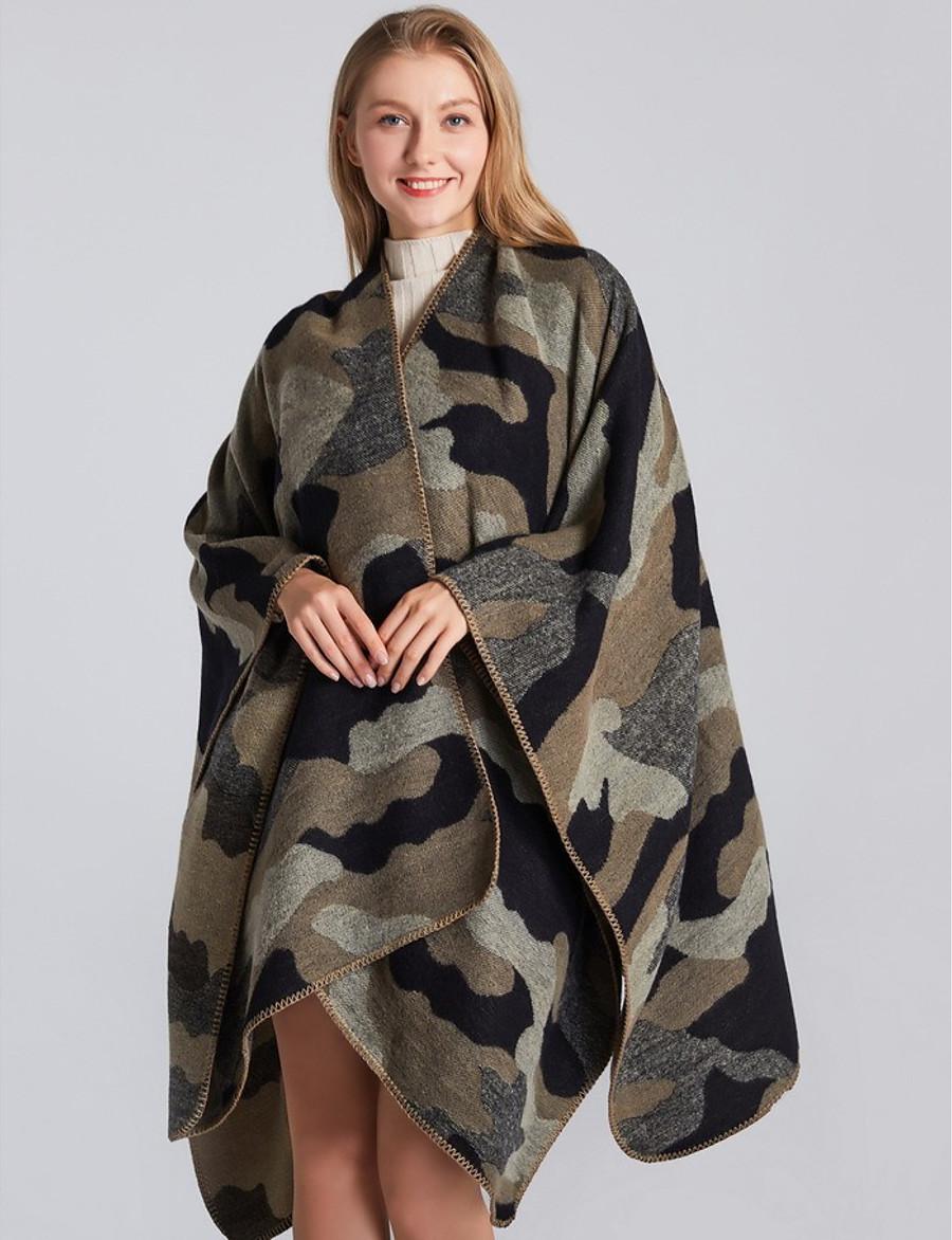 Women's Spring Cloak / Capes Regular Camo / Camouflage Daily Basic Black Purple Camel Khaki One-Size / Fall & Winter
