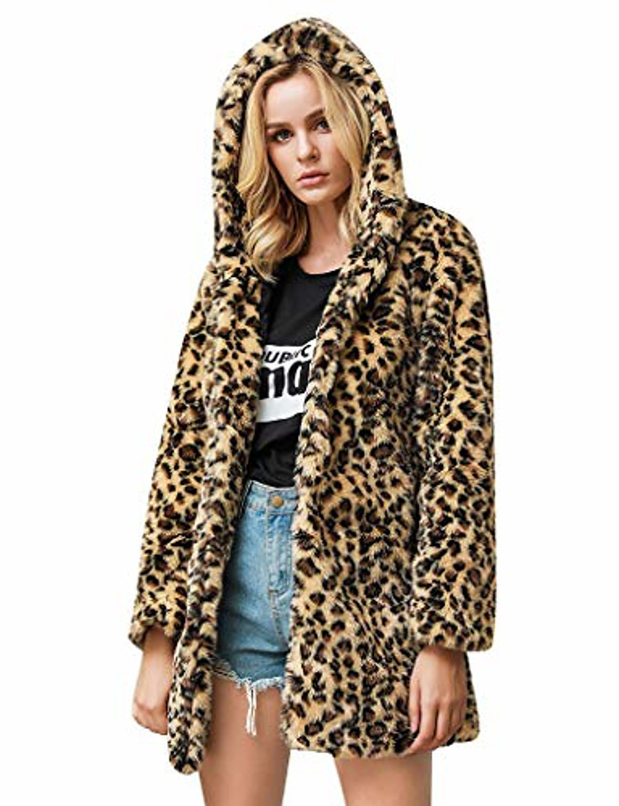 womens leopard faux fur coat long sleeve parka jacket outwear winter warm zip up hooded overcoat with pocket khaki