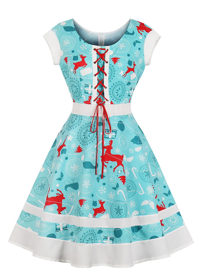 Women's Swing Dress Knee Length Dress - Short Sleeve Print Summer Casual 2020 Light Blue S M L XL XXL