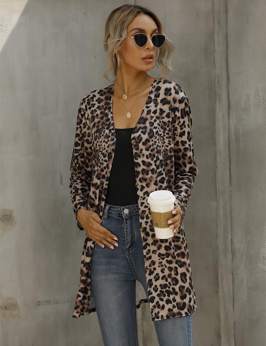 Women's Spring Open Front Jacket Long Leopard Long Sleeve Brown S M L XL