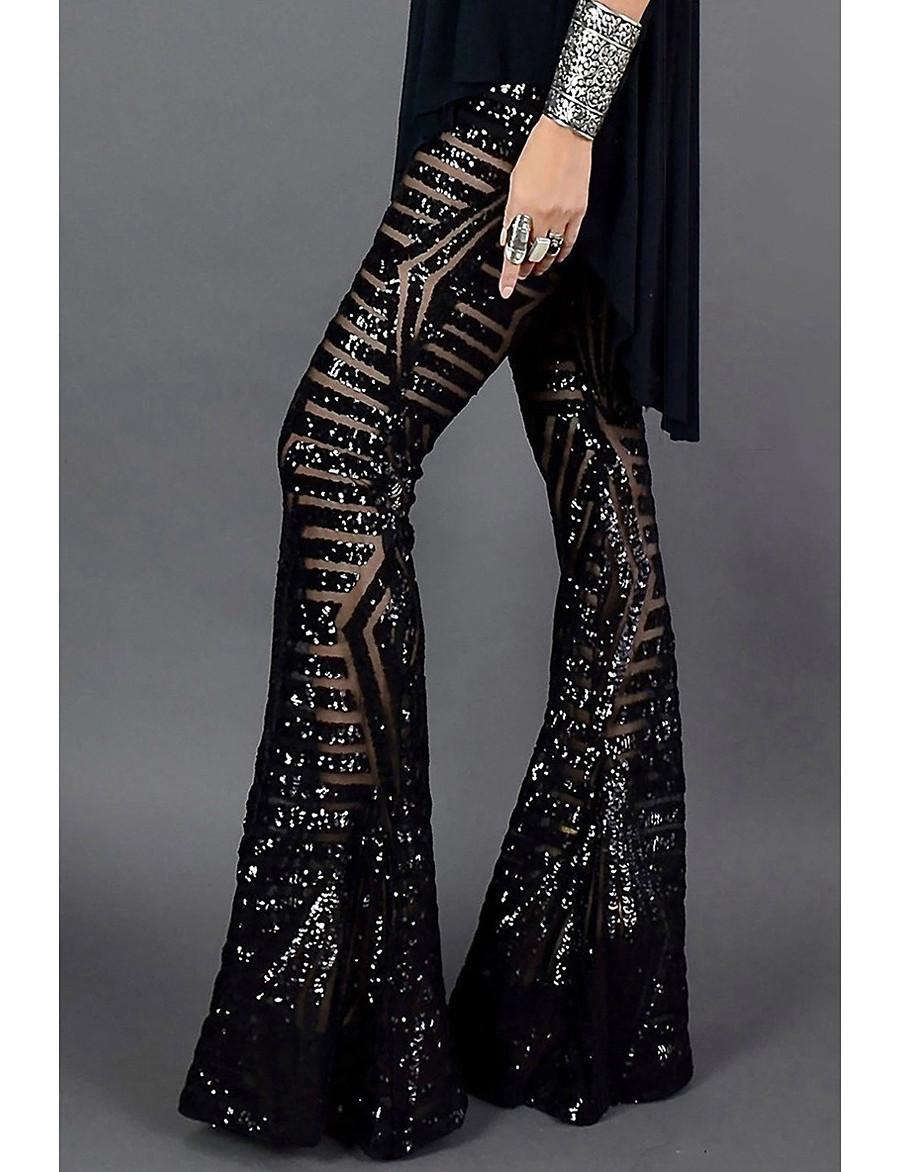Femme basique Séchage rapide Ample Soirée Ample Pantalon Avec motifs Toute la longueur Paillettes Taille haute Noir Marron clair Marron
