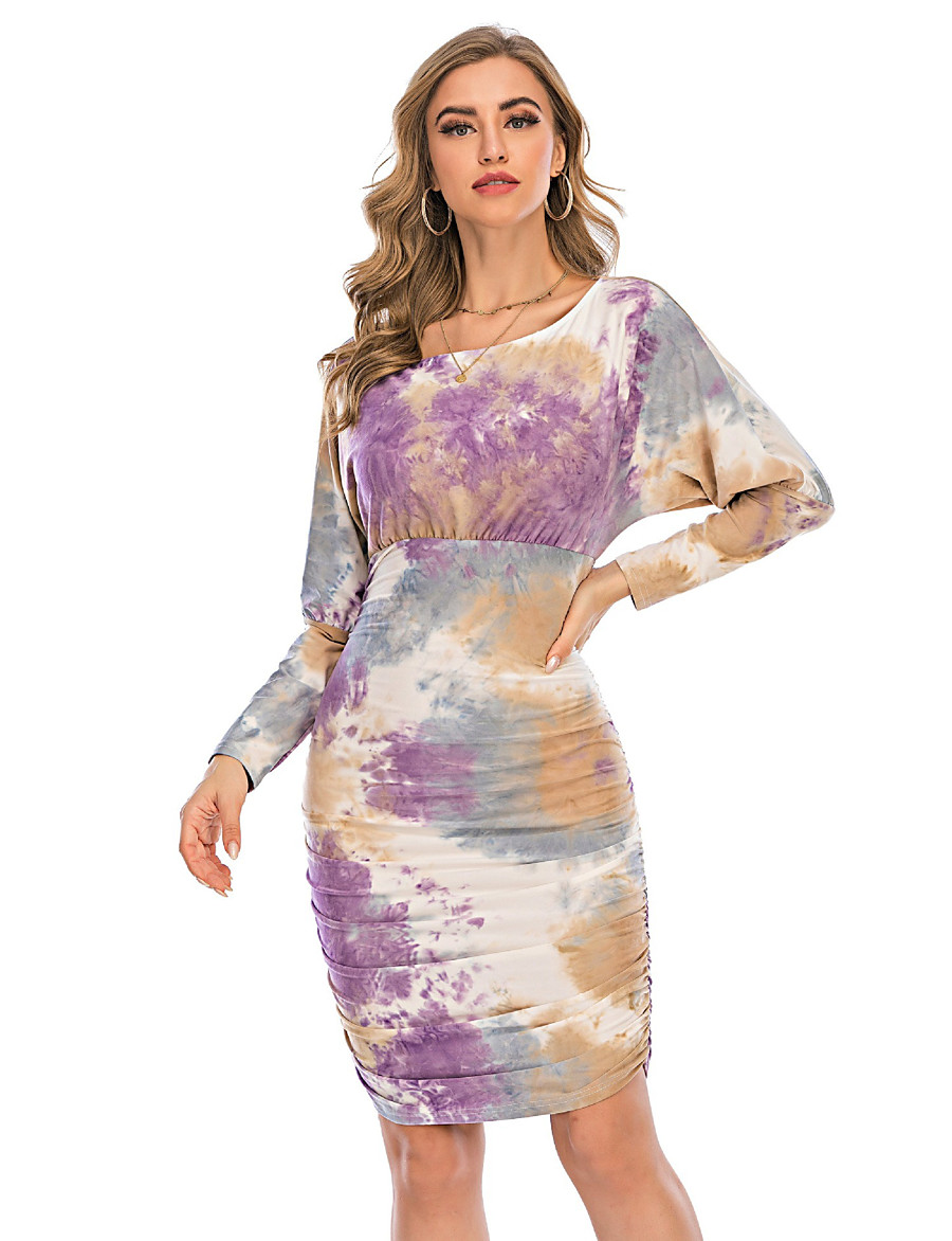 Women's Sheath Dress Knee Length Dress - Long Sleeve Print Print Fall Elegant Sexy 2020 Purple S M L XL XXL