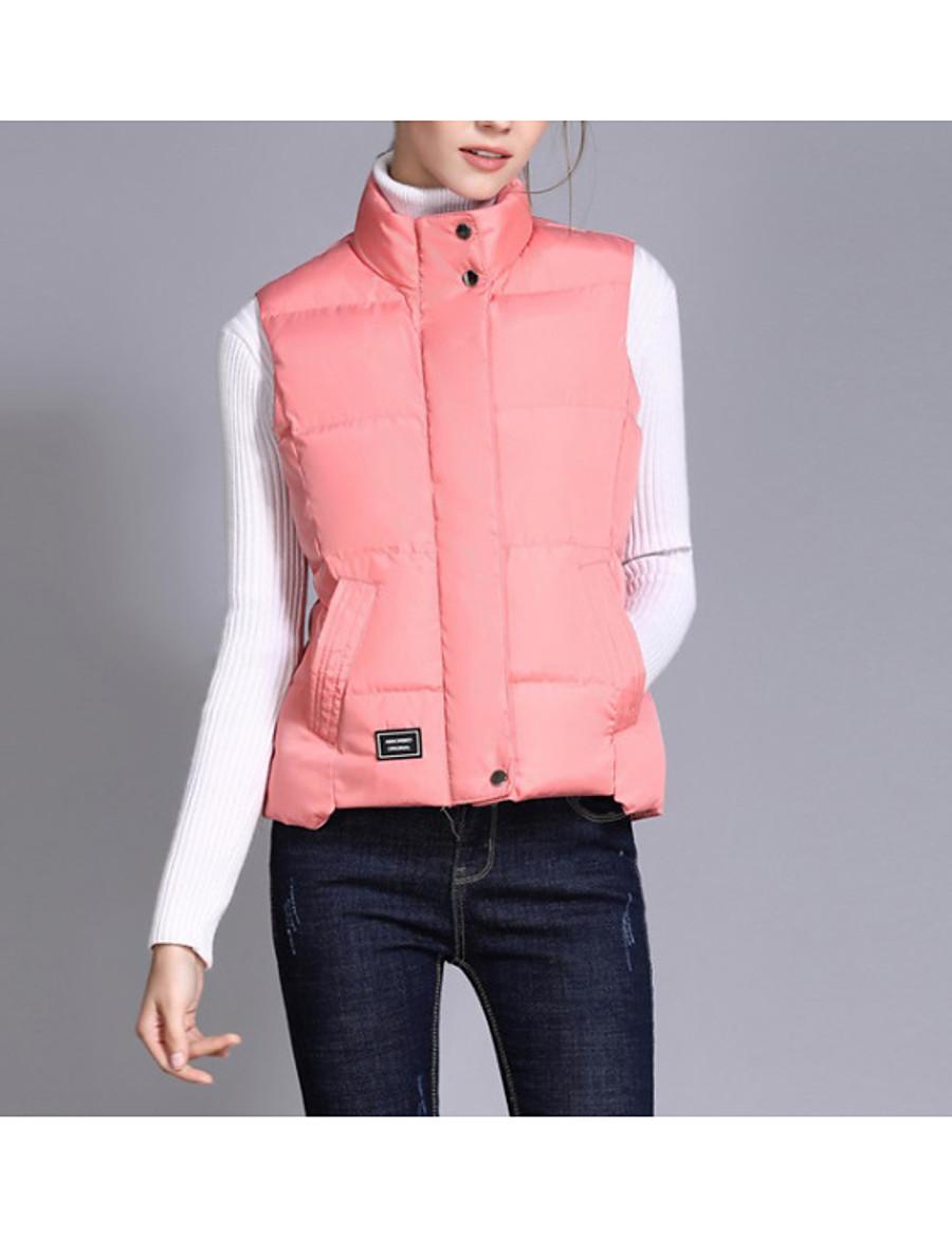 Women's Vest Parka Solid Colored Polyester Black / Blushing Pink / Light Green M / L / XL