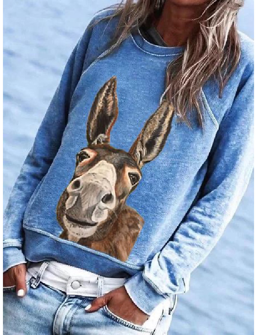 Women's Pullover Sweatshirt Animal Daily Basic Hoodies Sweatshirts  Cotton Loose Oversized Blue