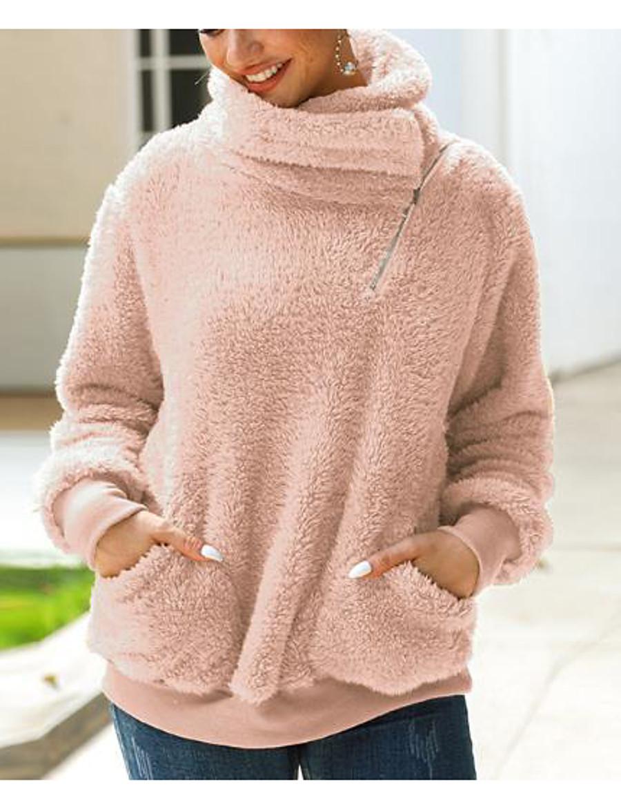 Women's Pullover Sweatshirt Solid Colored Plain Basic Hoodies Sweatshirts  Blushing Pink Army Green Khaki