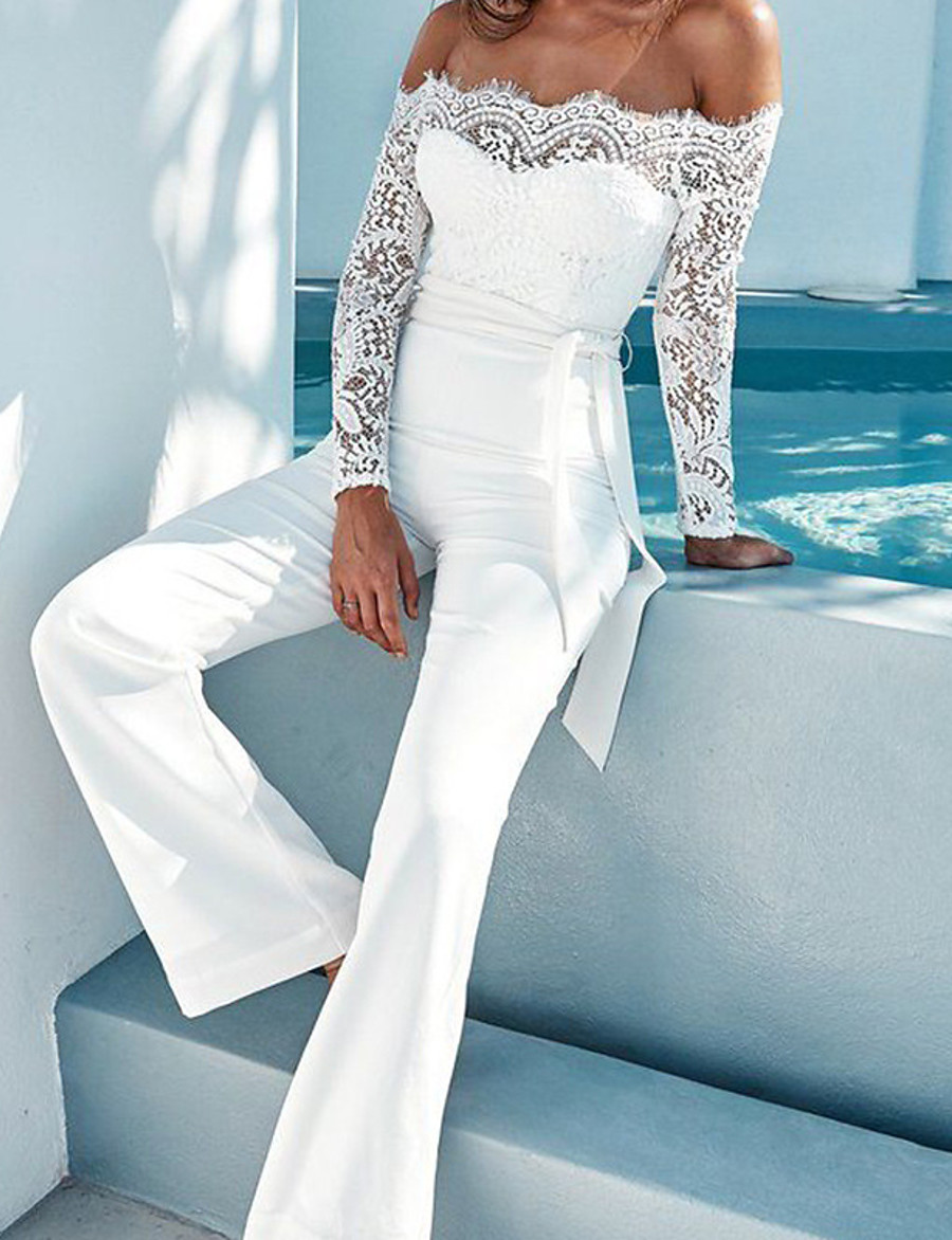 Women's White Jumpsuit Solid Colored Lace Backless Lace Trims