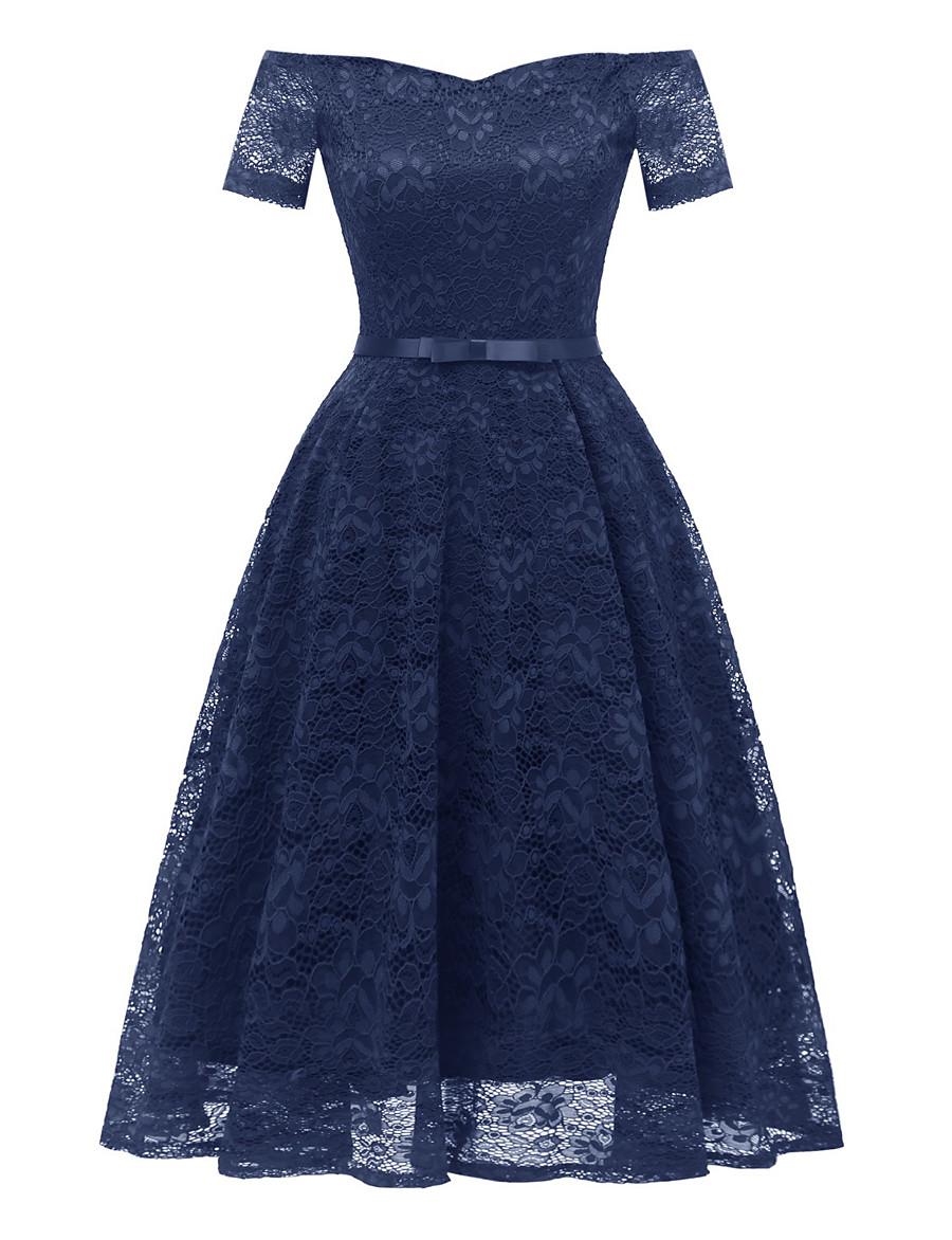 Women's A Line Dress Short Mini Dress Navy Blue Short Sleeve Solid Color Lace Bow Summer Off Shoulder Hot Sexy 2021 S M L XL XXL