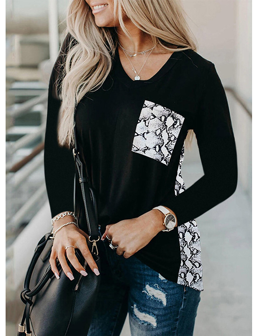 Women's Tunic Abstract Long Sleeve Print Round Neck Tops Loose Basic Basic Top White Black Red