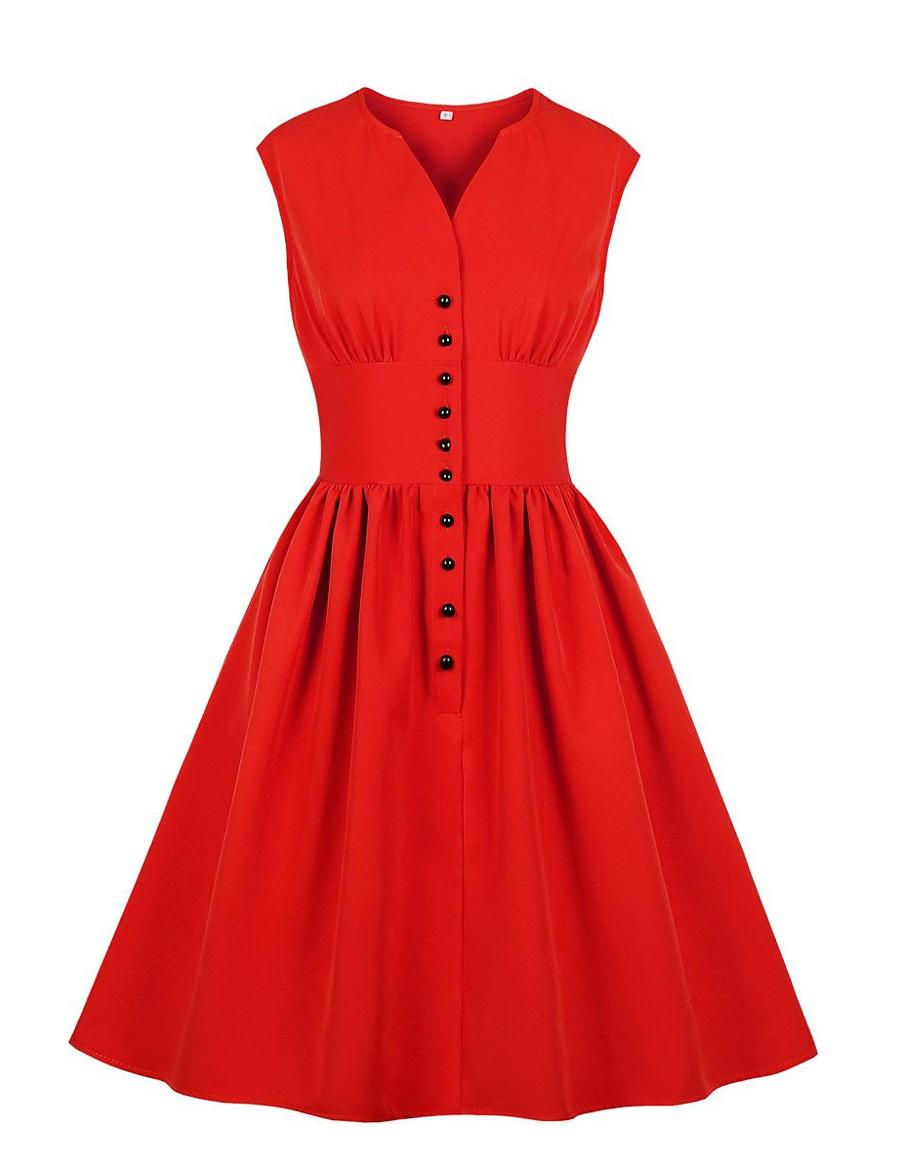 Women's Swing Dress Knee Length Dress - Sleeveless Solid Color Summer V Neck Plus Size Elegant Daily 2020 Red XL XXL XXXL XXXXL