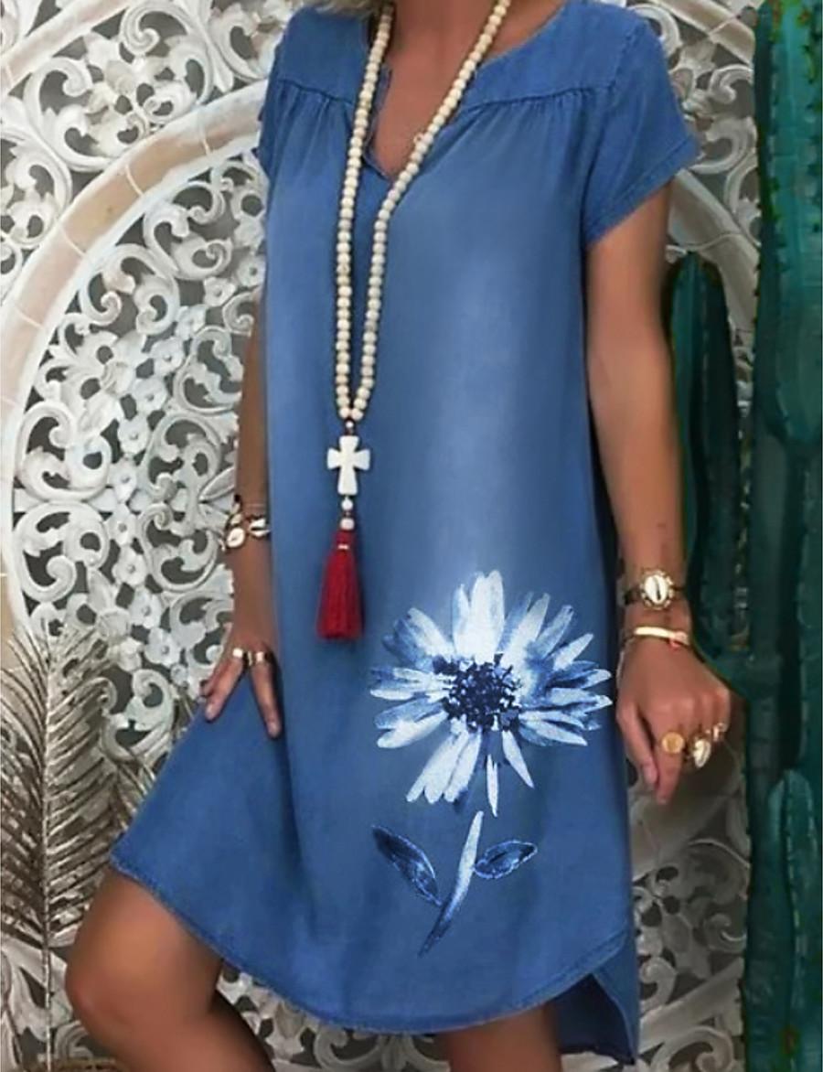 Women's Denim Dress Knee Length Dress - Short Sleeve Floral Print Summer V Neck Hot Casual 2020 White Navy Blue M L XL XXL 3XL