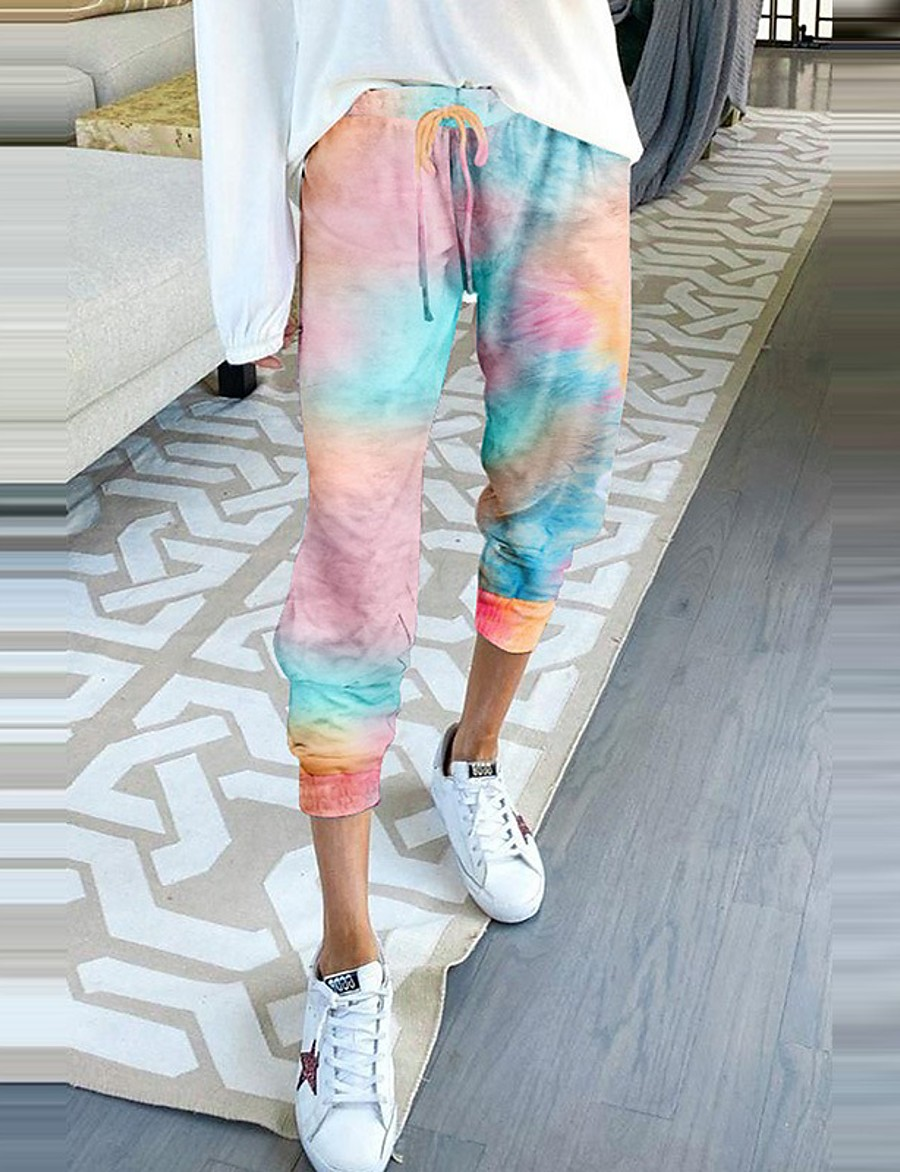 Women's Basic Quick Dry Slim Daily Tactical Cargo Pants Camouflage Ankle-Length Print Blue Red Blushing Pink