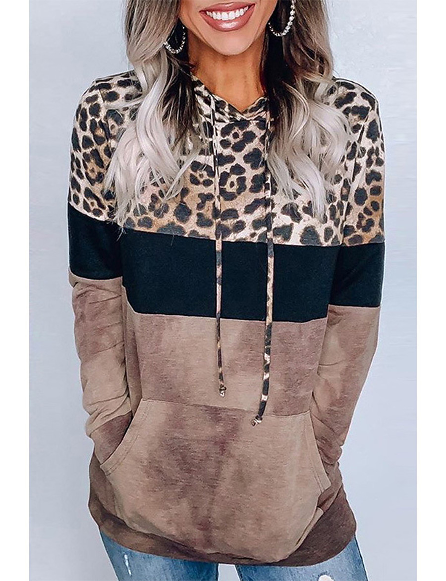 Women's Pullover Hoodie Sweatshirt Leopard Cheetah Print Daily Casual Hoodies Sweatshirts  Loose Oversized Brown