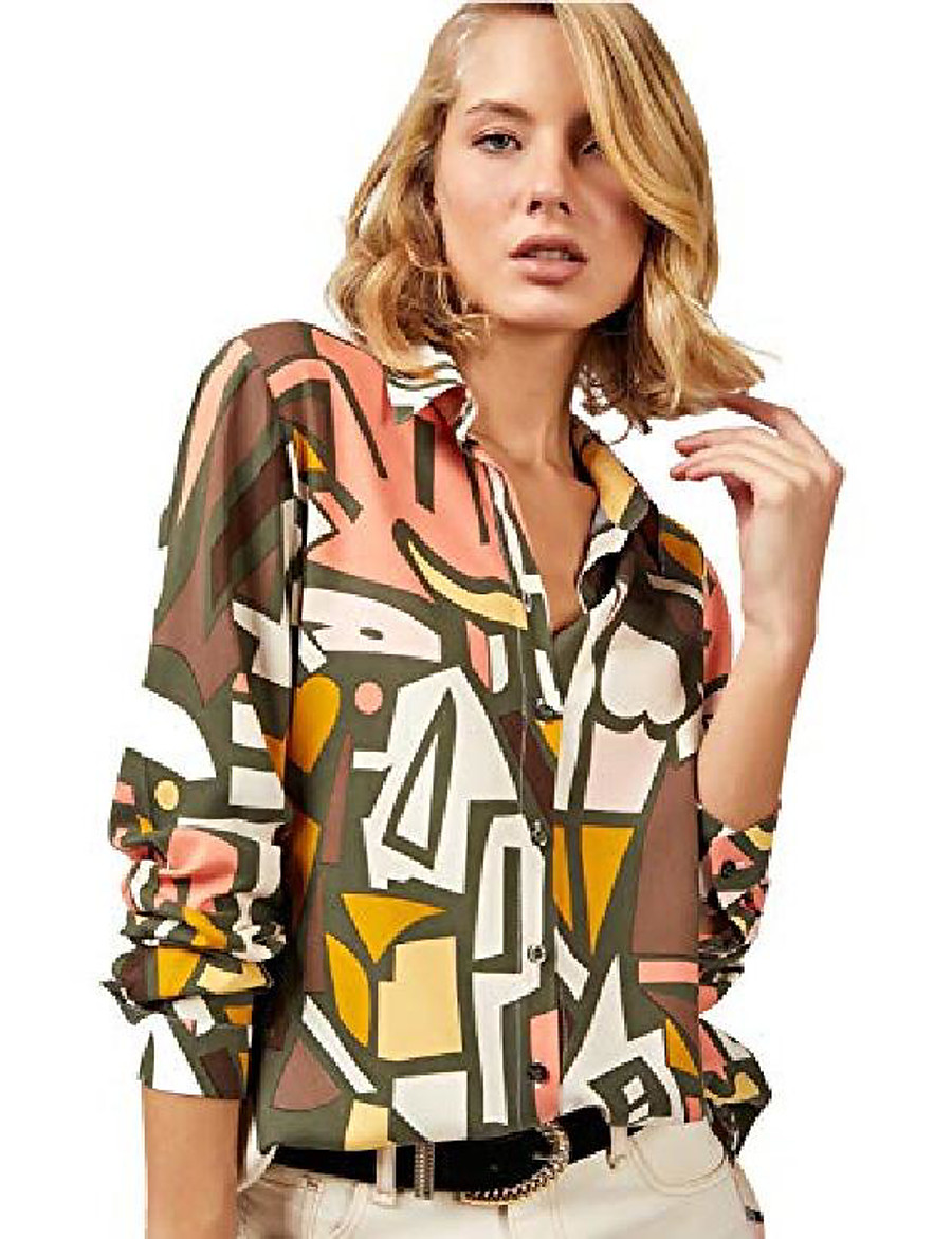 Women's Blouse Shirt Geometric Pattern Long Sleeve Shirt Collar Tops Casual Basic Top Rainbow Green