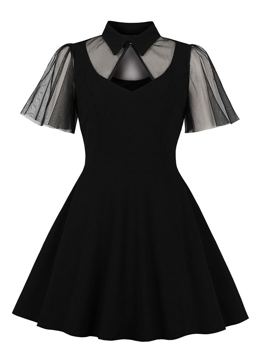 Women's Swing Dress Knee Length Dress - Short Sleeve Print Lace Zipper Print Fall Vintage Daily Slim 2020 Black XL XXL XXXL XXXXL