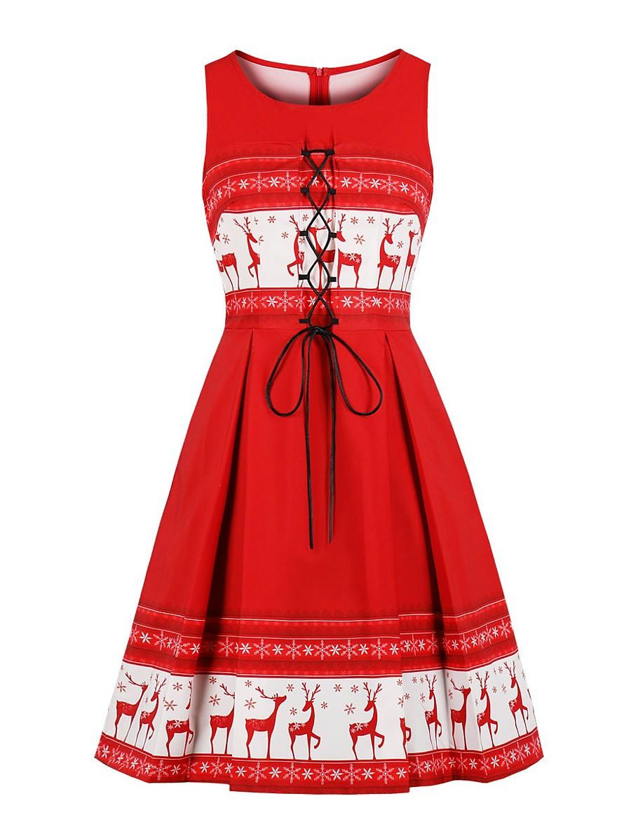 Women's Swing Dress Knee Length Dress - Sleeveless Print Spring Summer Casual 2020 Red S M L XL XXL 3XL 4XL