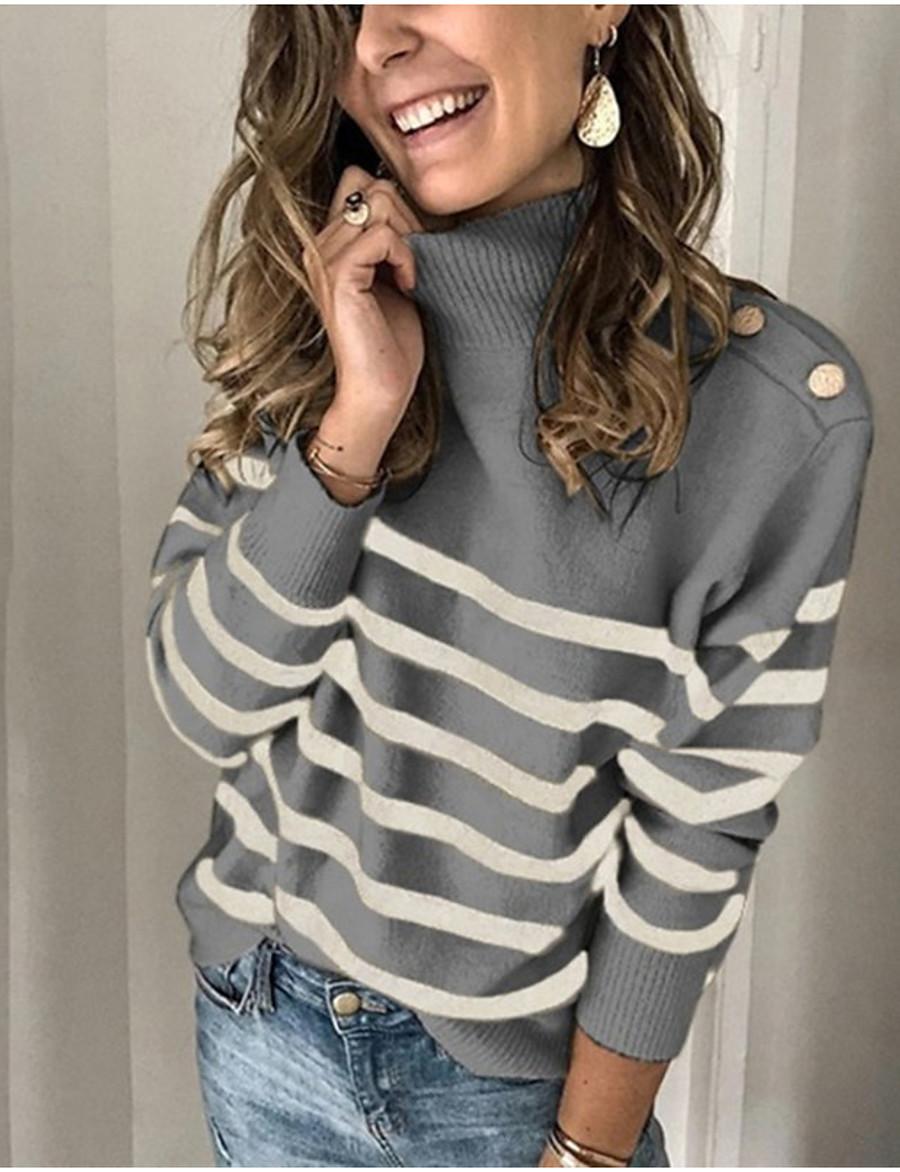 Women's Basic Stripe Striped Pullover Long Sleeve Sweater Cardigans Turtleneck Spring Winter Khaki Beige Gray