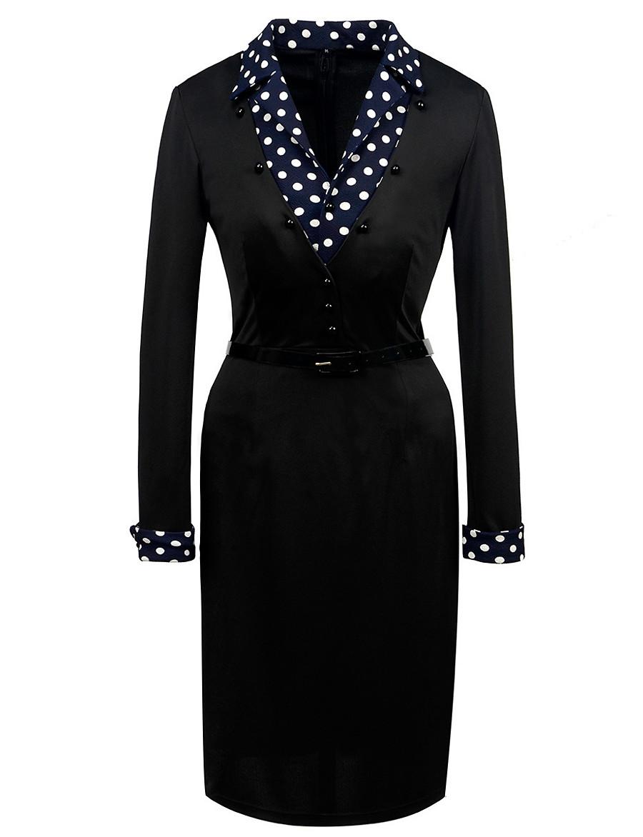 Women's Sheath Dress Knee Length Dress - Long Sleeve Polka Dot Patchwork Fall V Neck Elegant Party Slim 2020 Black S M L