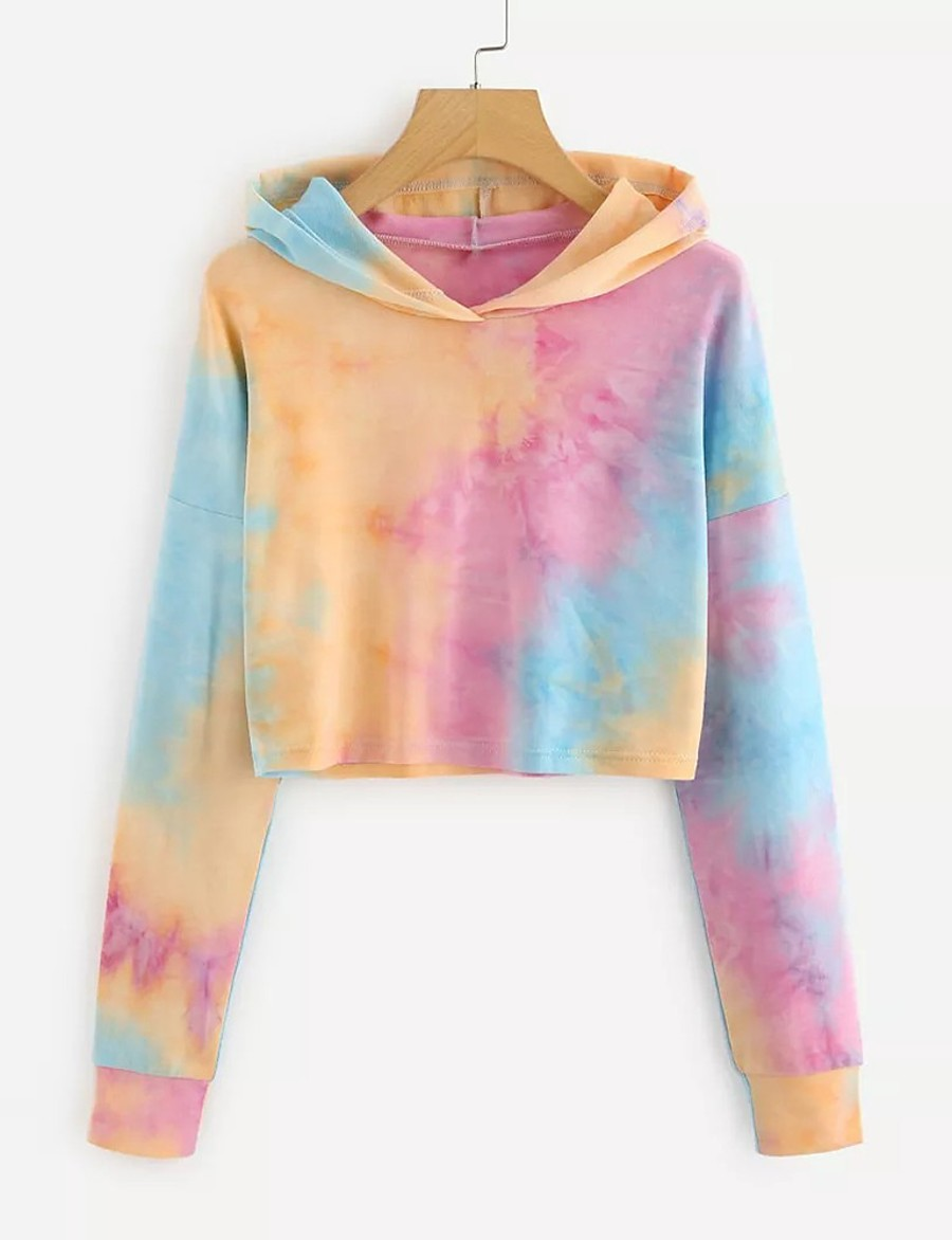 Women's Cropped Hoddie Tie Dye Daily Basic Hoodies Sweatshirts  Purple Blushing Pink Gray