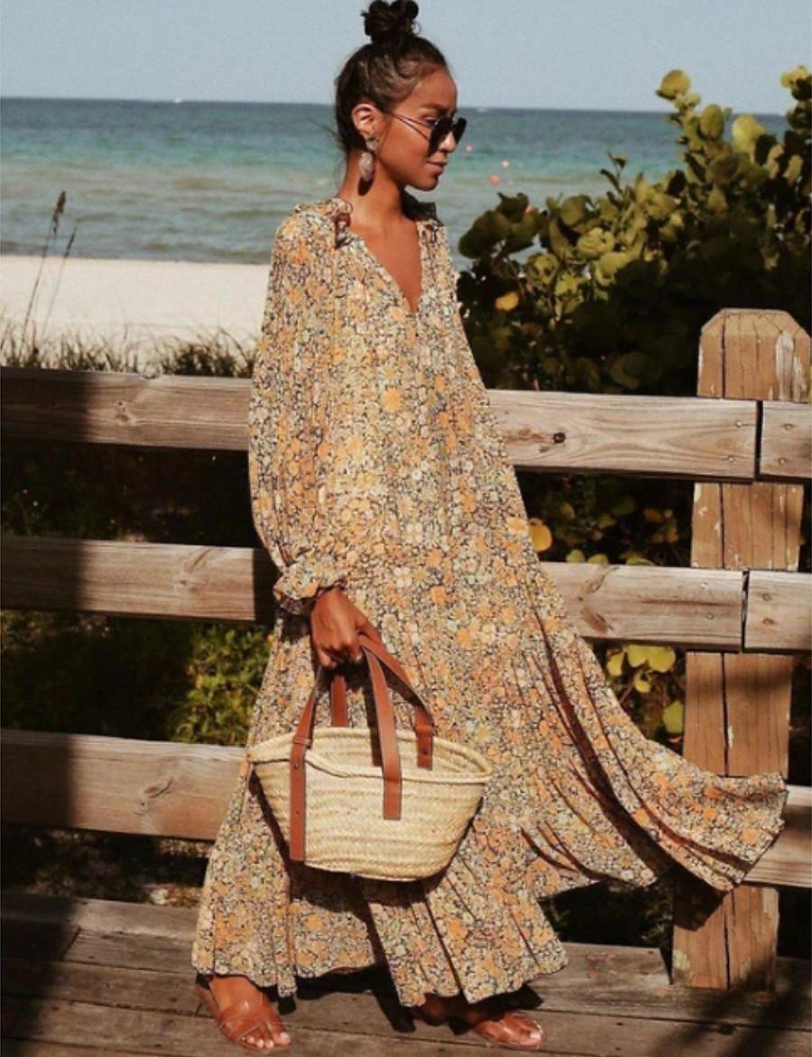 Women's Swing Dress Maxi long Dress Khaki Long Sleeve Floral Print Print Spring Summer V Neck Casual Boho Going out Beach Flare Cuff Sleeve Loose 2021 S M L XL XXL 3XL
