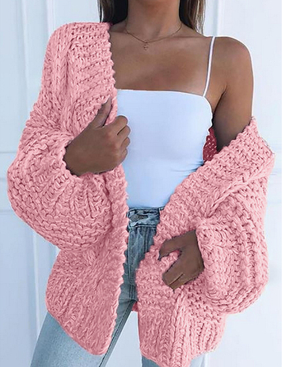 Women's Solid Colored Cardigan Long Sleeve Oversized Sweater Cardigans V Neck Black Blushing Pink