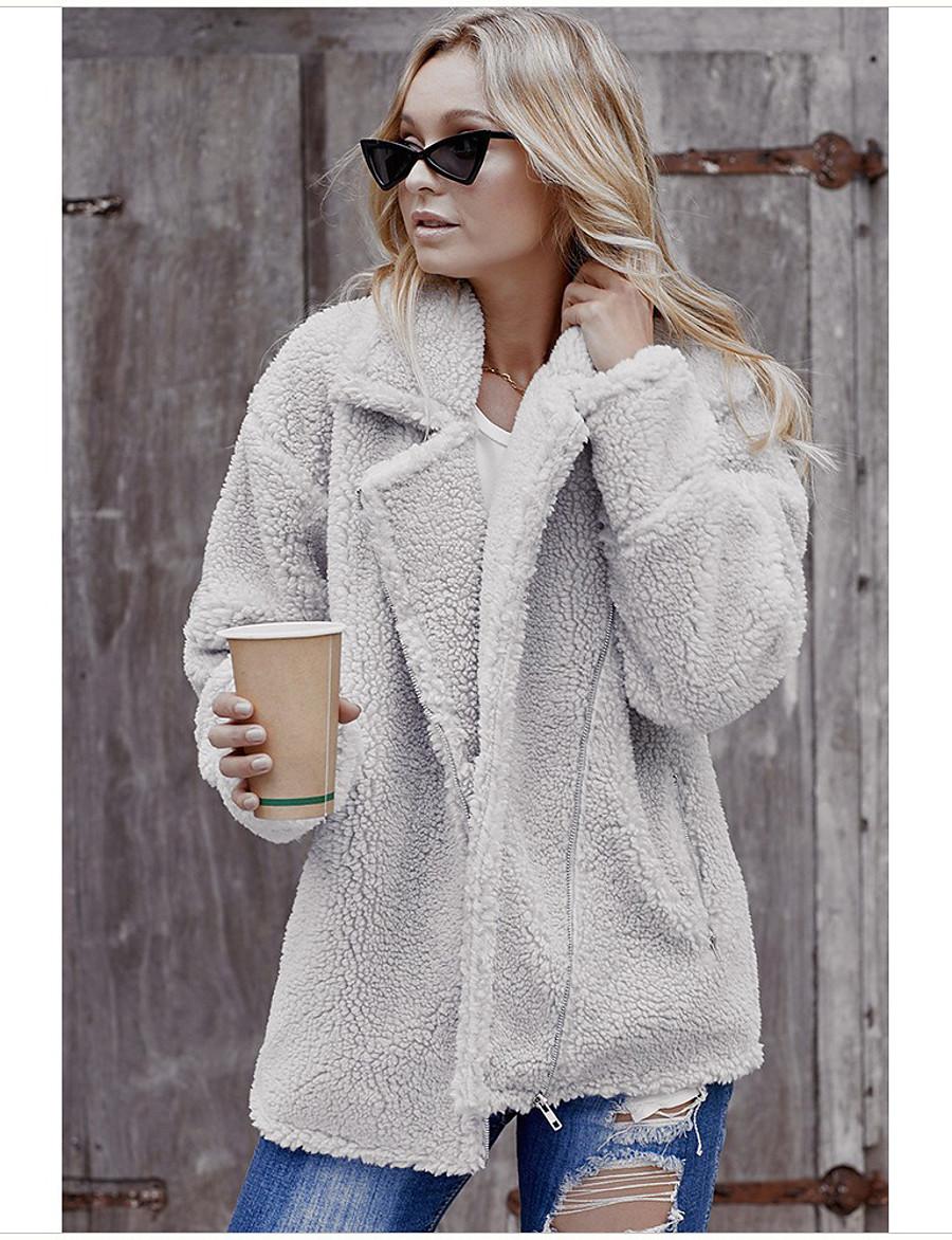 Women's Fall & Winter Zipper Teddy Coat Regular Solid Colored Daily Basic Fur Trim Black Green Gray S M L XL / Loose
