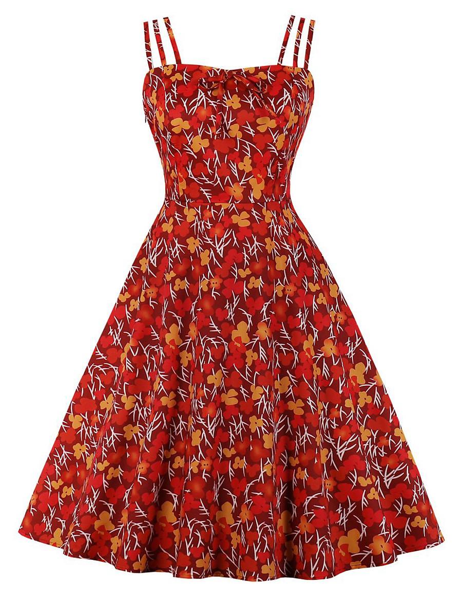 Women's Strap Dress Knee Length Dress - Sleeveless Print Print Summer Strapless Plus Size Elegant Daily 2020 Red S M L XL XXL XXXL XXXXL