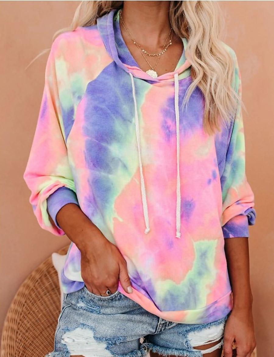 Women's Daily Pullover Hoodie Sweatshirt Tie Dye Basic Hoodies Sweatshirts  Oversized Blue Blushing Pink