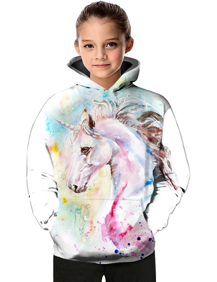 Kids Toddler Girls' Hoodie & Sweatshirt Fantastic Beasts Unicorn Long Sleeve Color Block Geometric Animal Print White Children Tops Active Basic