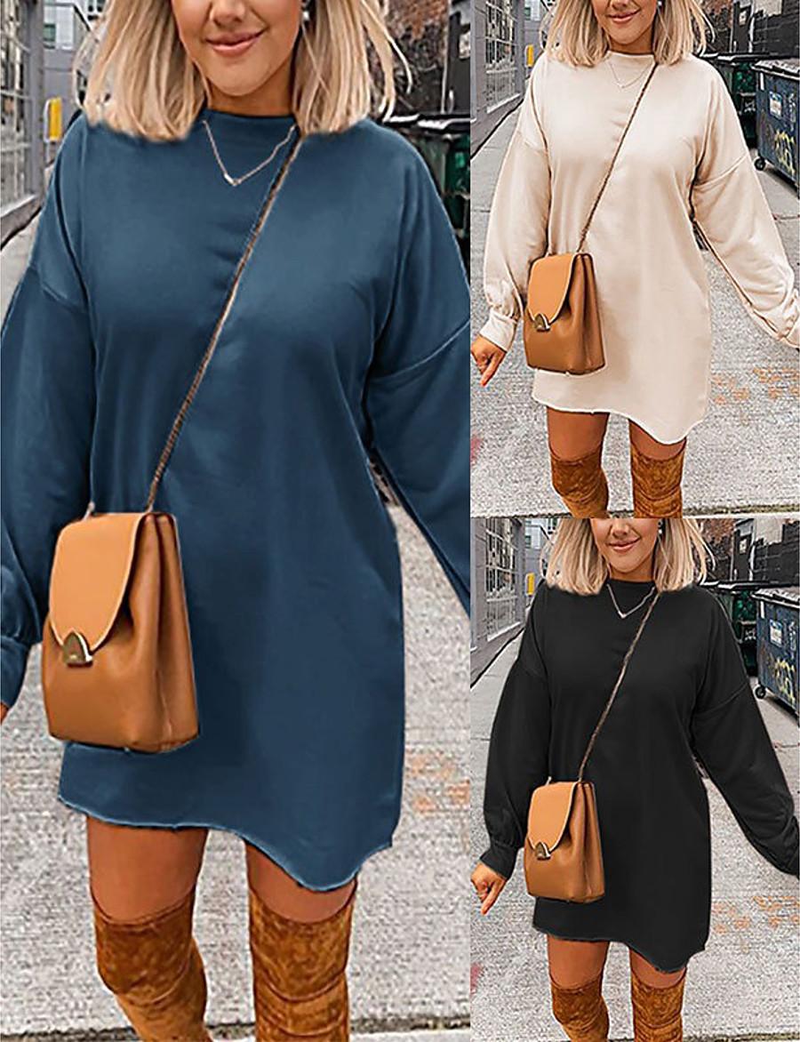 Damen A-Linie Kleid Minikleid - Langarm Volltonfarbe ...