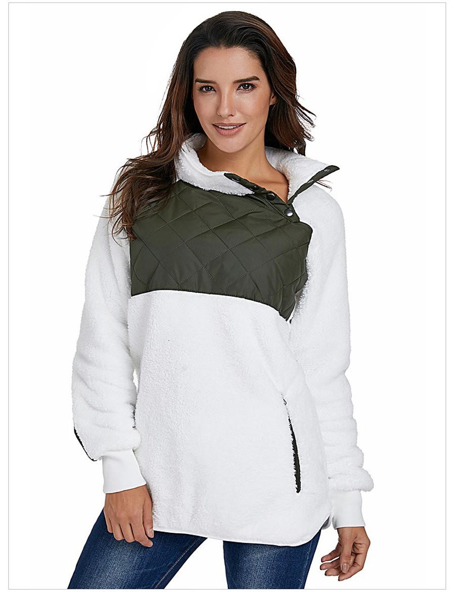 Women's Fall & Winter Buttoned Front Teddy Coat Regular Color Block Daily Basic Patchwork Black & White Black & Gray White Black Blushing Pink Khaki S M L XL