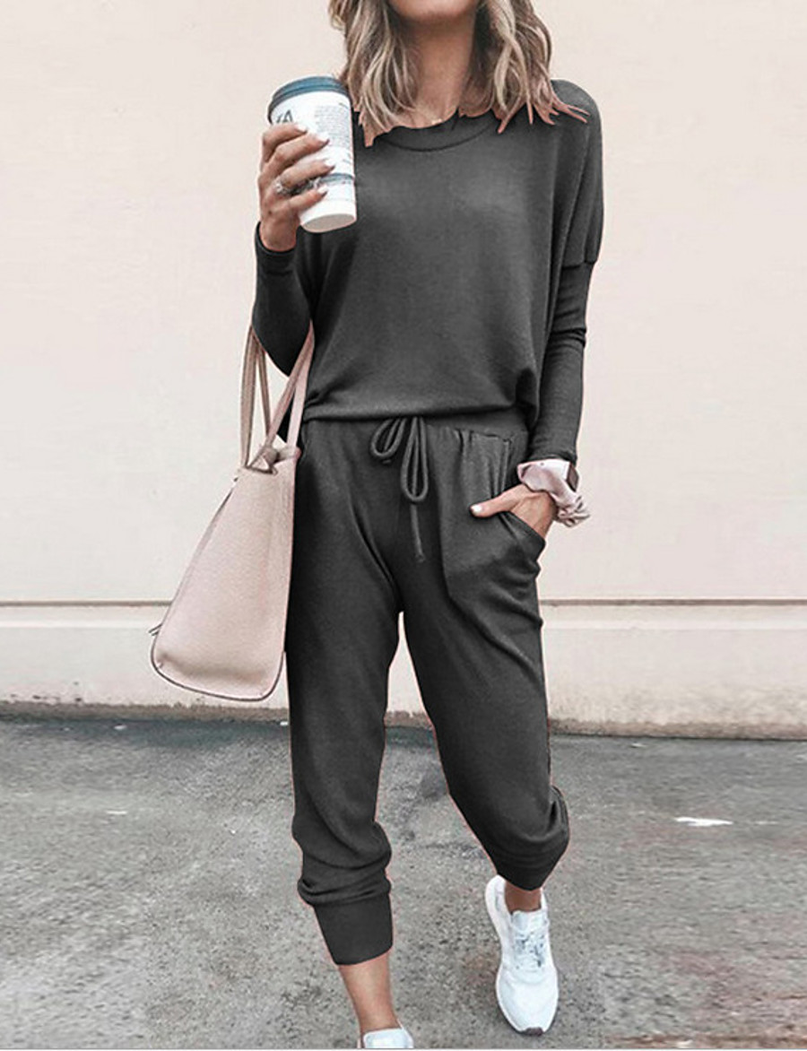 Women's Solid Color Daily Wear Home Two Piece Set T-shirt Pant Loungewear Patchwork Tops