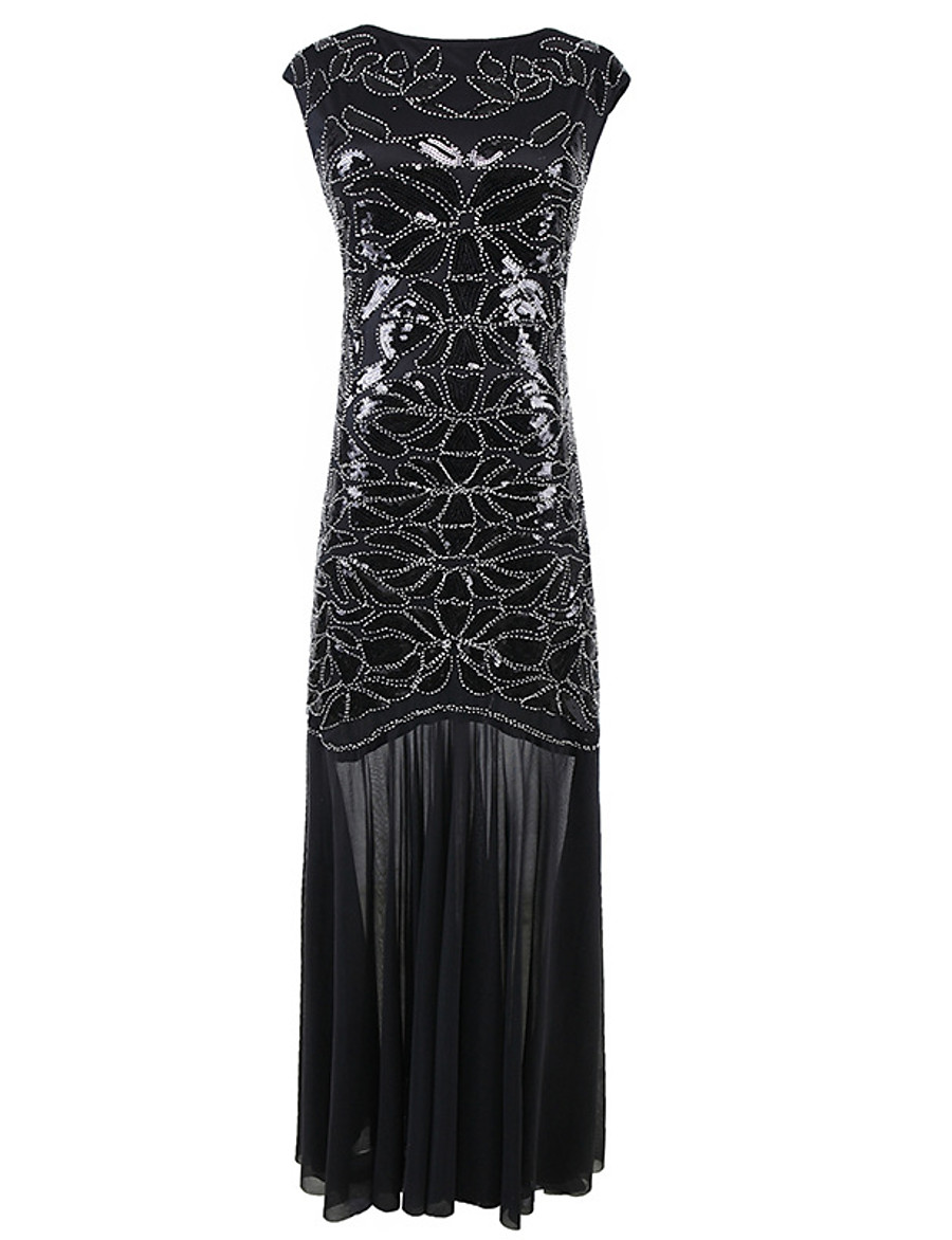 Women's Sheath Dress Maxi long Dress - Sleeveless Solid Color Sequins Embroidered Summer Sexy Party Slim 2020 Black Silver S M L XL XXL