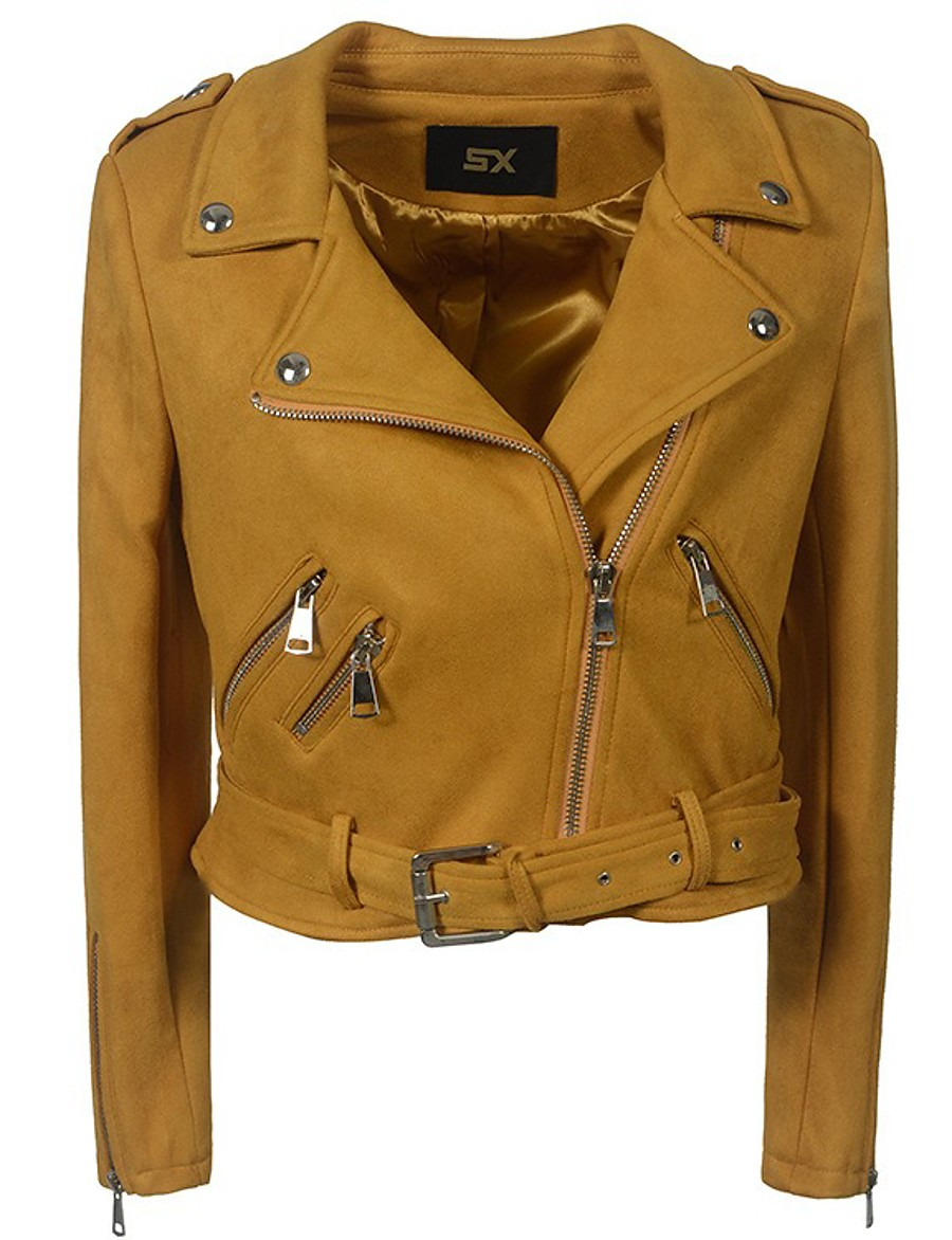 Women's Zipper Shirt Collar Faux Leather Jacket Short Solid Colored Daily Basic Black Yellow Army Green Beige S M L XL / Slim