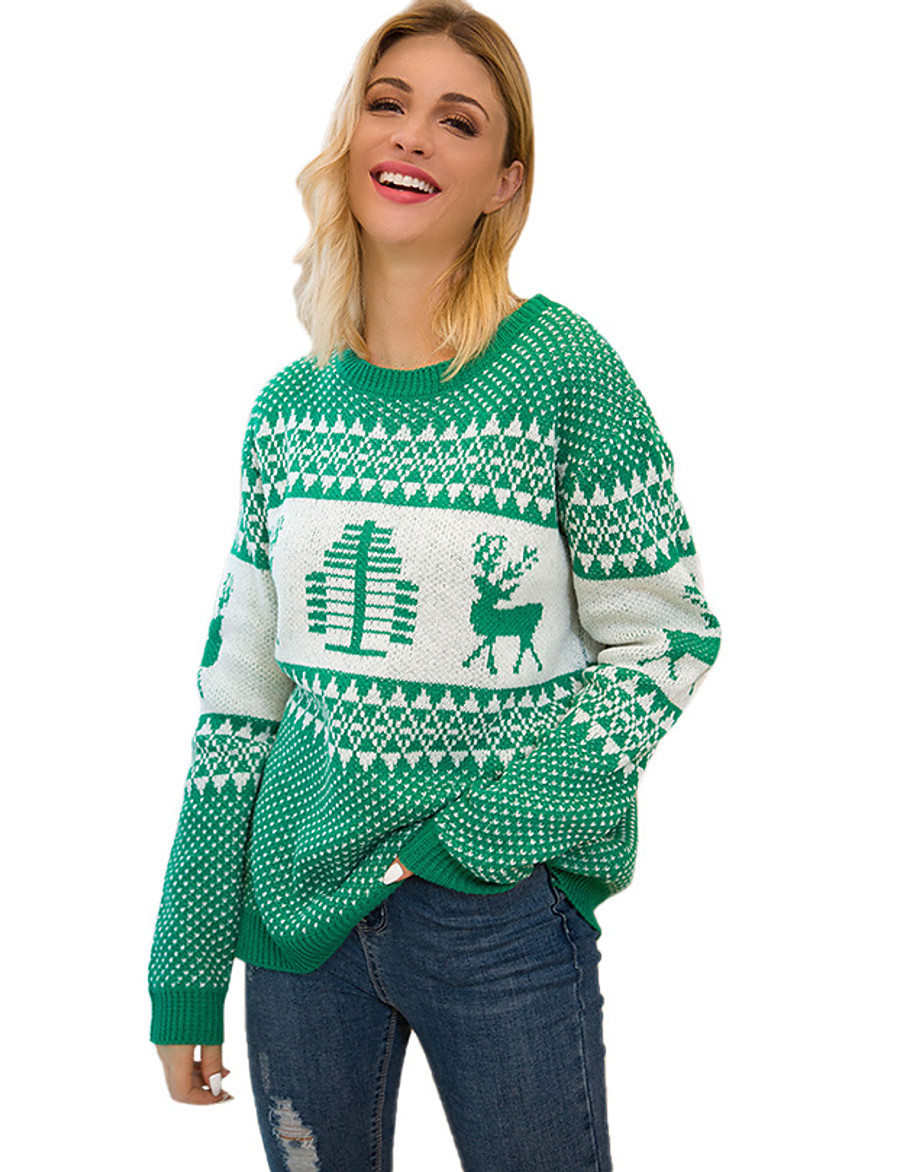Women's Christmas Animal Sweater Long Sleeve Sweater Cardigans Crew Neck Round Neck Spring Fall Red Green Navy Blue