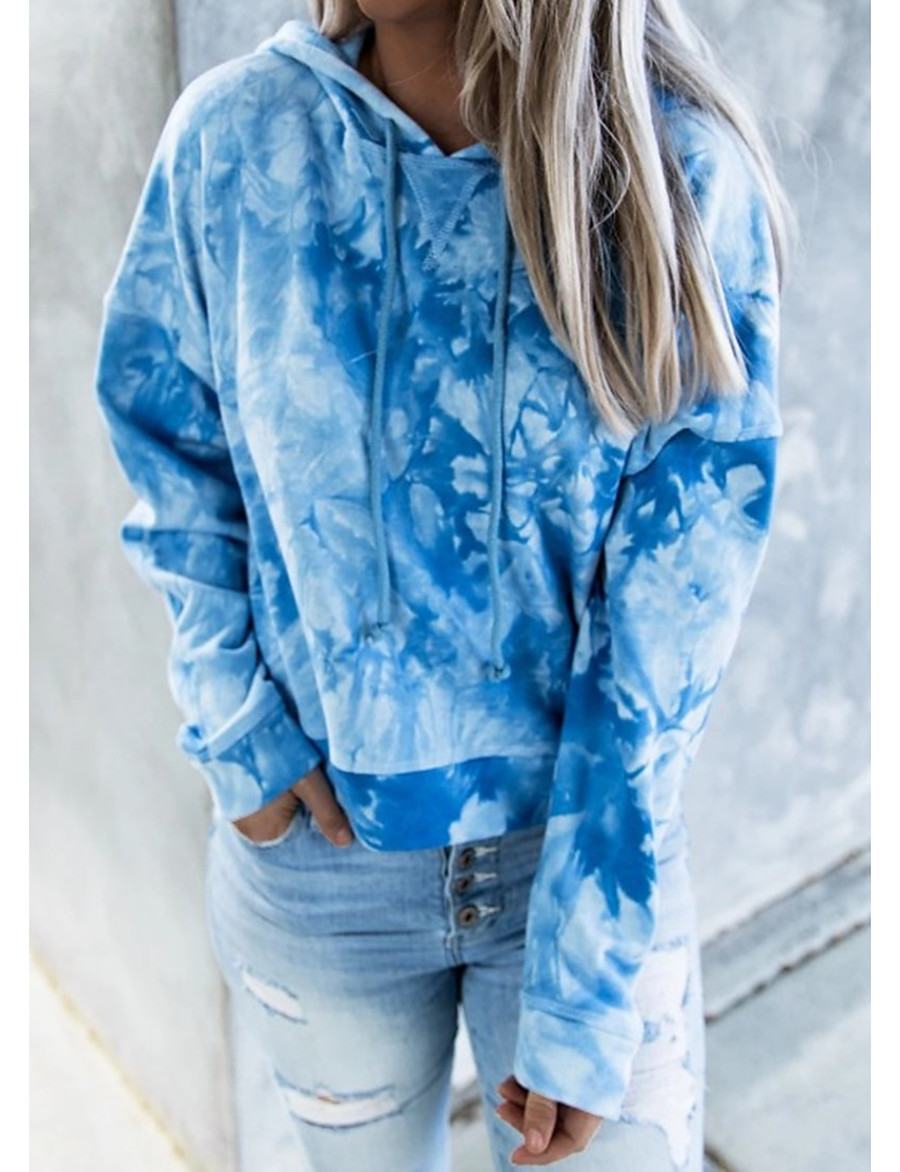 Women's Pullover Hoodie Sweatshirt Tie Dye Daily Casual Basic Hoodies Sweatshirts  Loose Blue Navy Blue / Going out